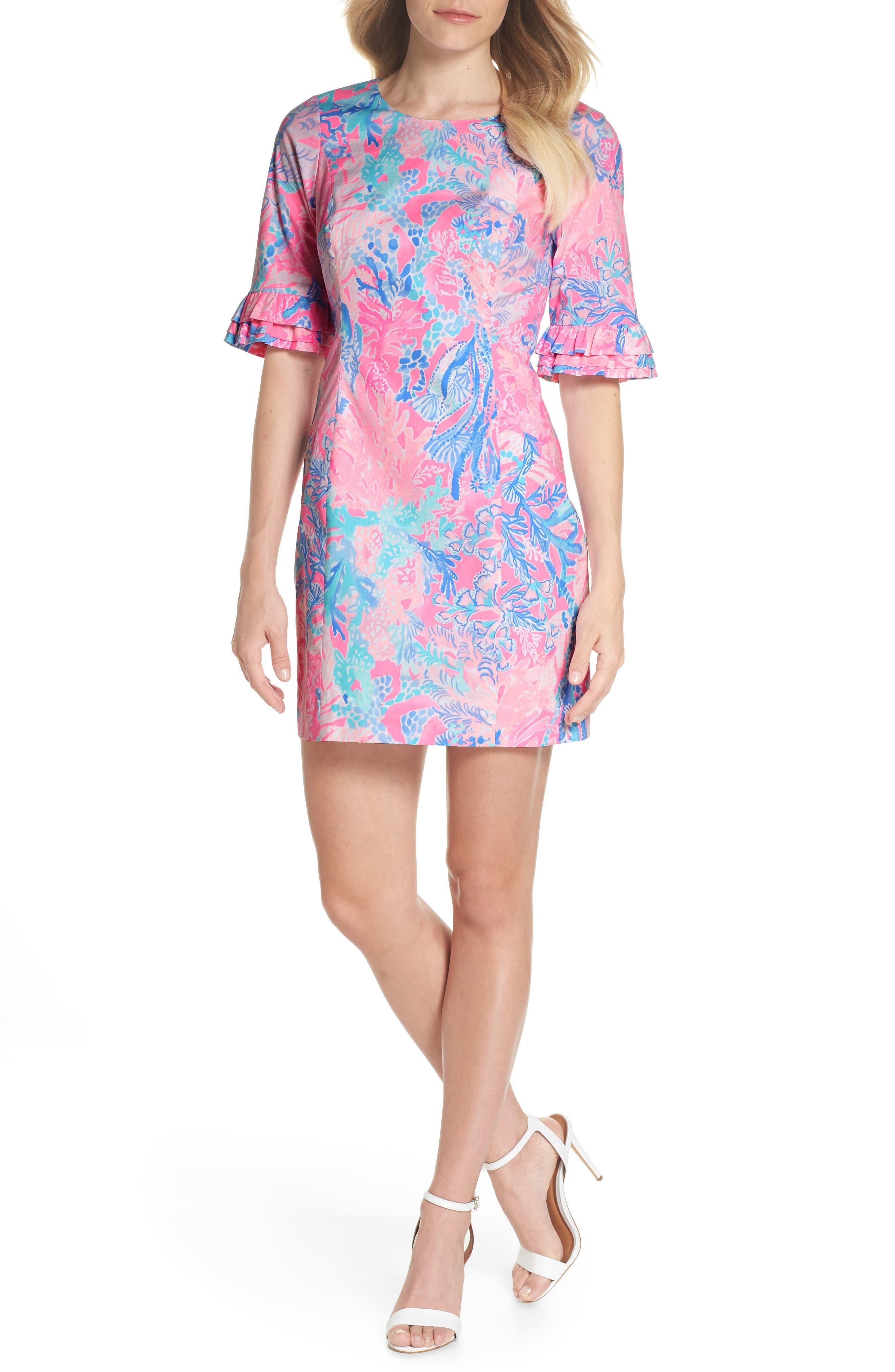 Fiesta Stretch Sheath Dress,                             Main thumbnail 1, color,                             LIGHT PASCHA PINK AQUADESIAC
