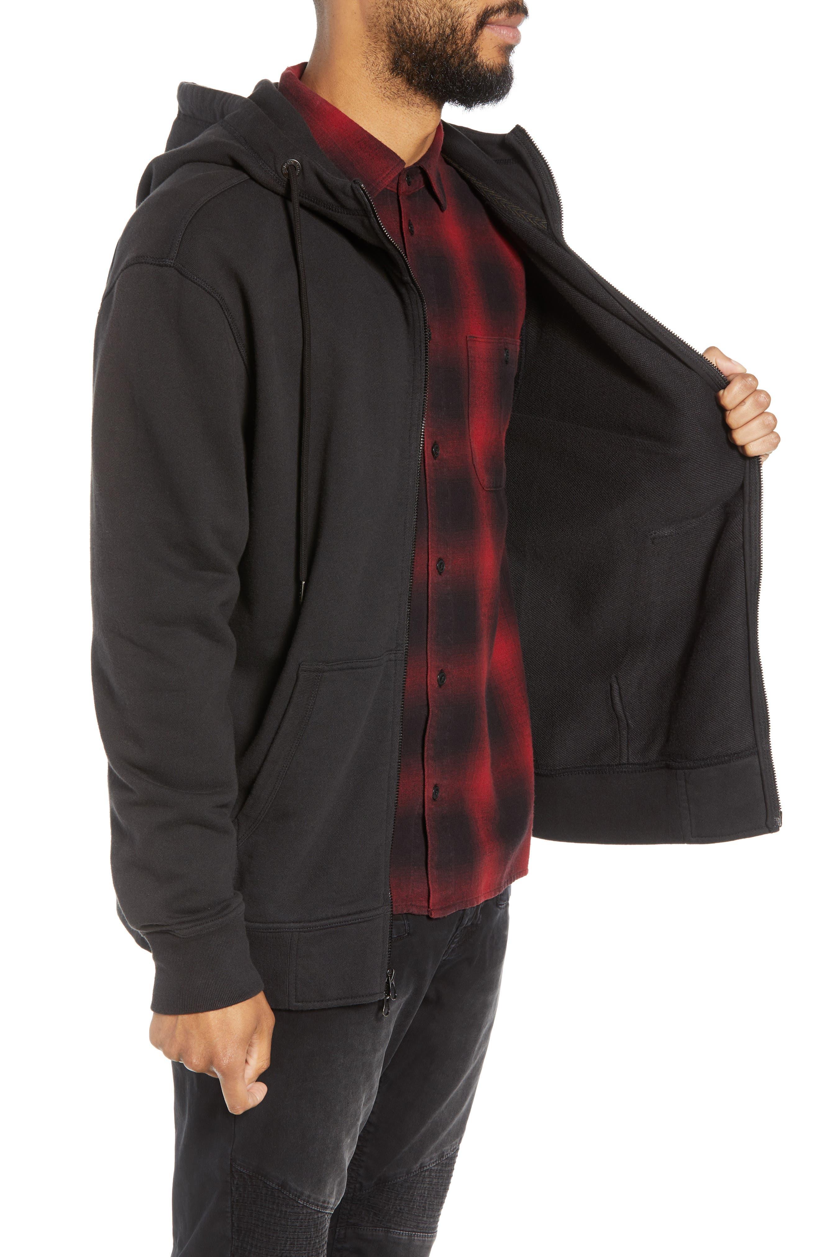 Regular Fit Hooded Zip Sweatshirt,                             Alternate thumbnail 3, color,                             001