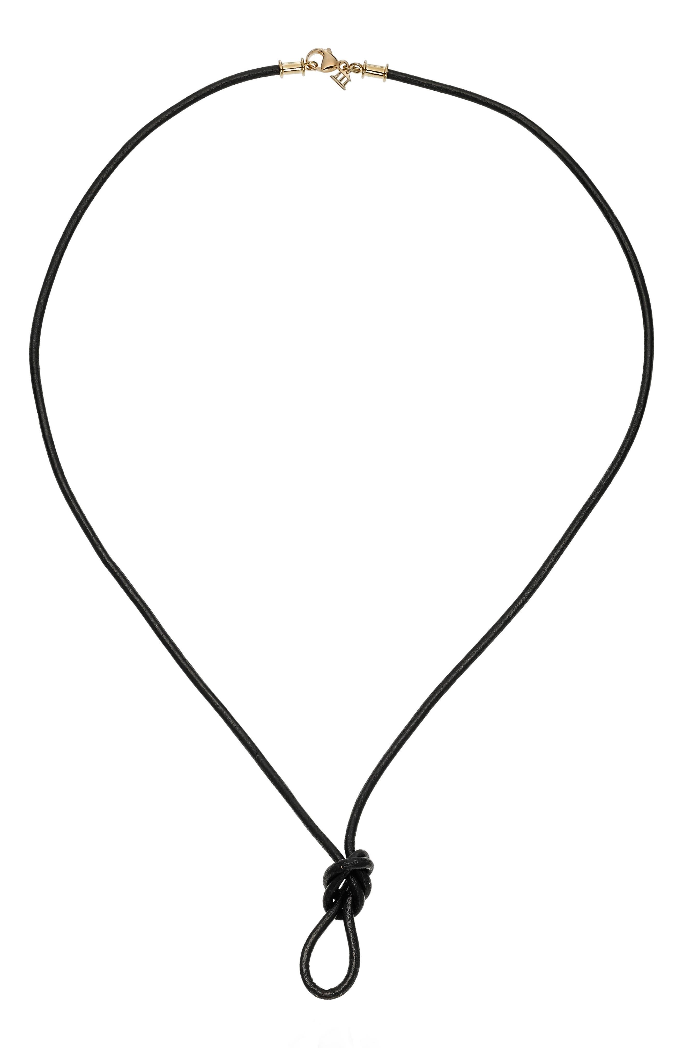 Black Leather Cord Necklace,                             Main thumbnail 1, color,                             BLACK