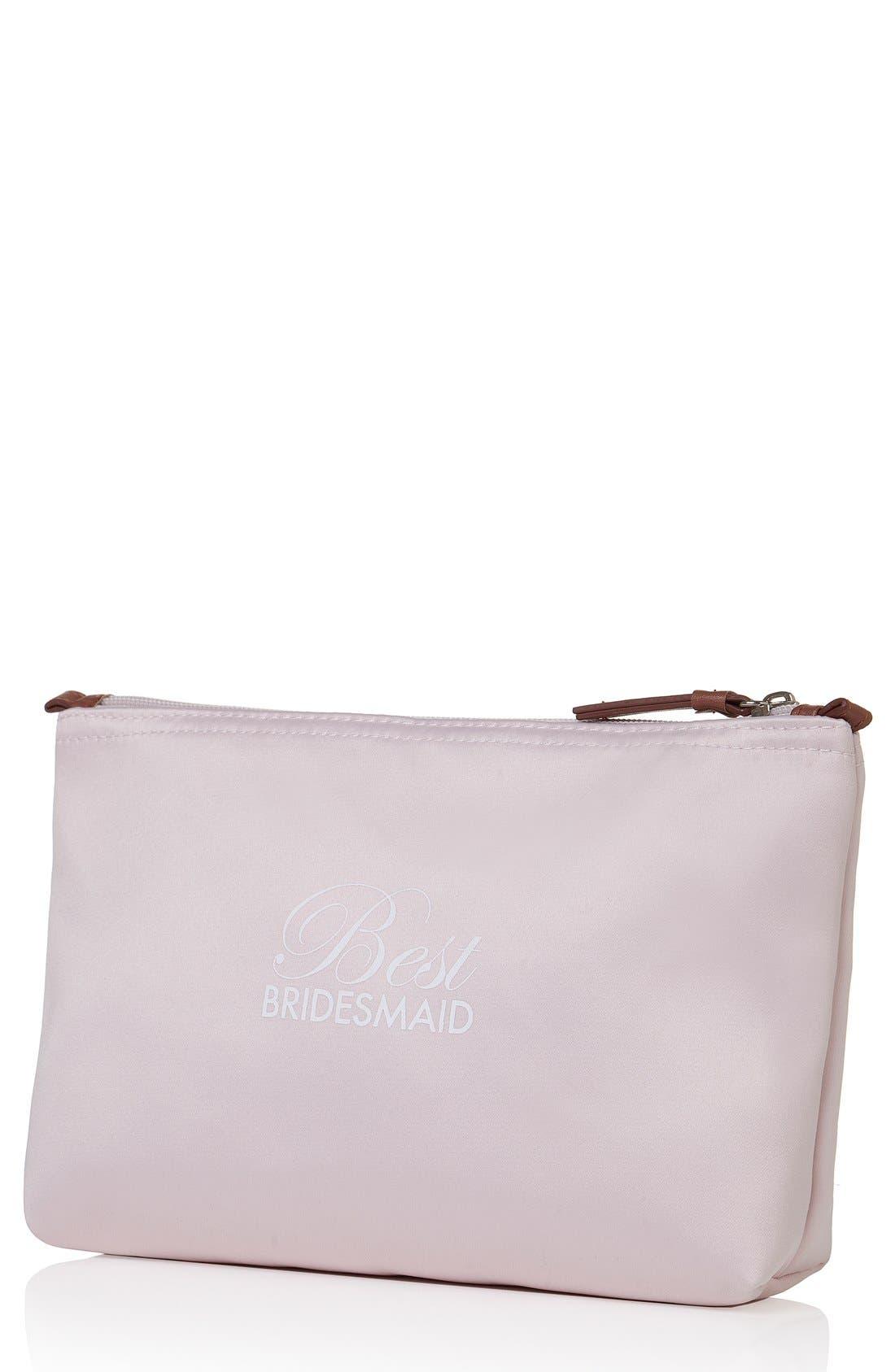 'Best Bridesmaid' Cosmetics Bag,                             Main thumbnail 1, color,                             BLUSH