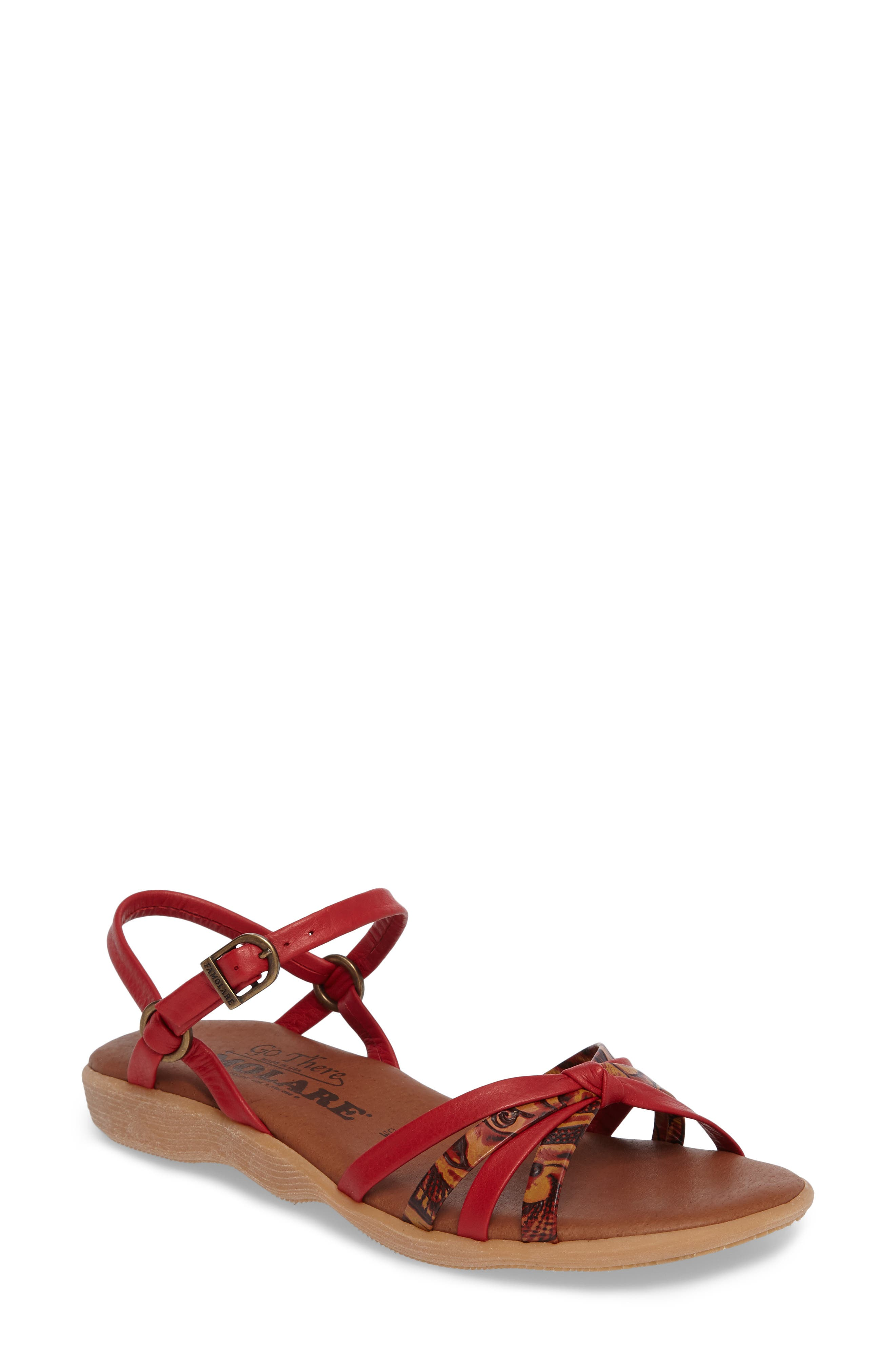 Strap Music Knotted Sandal,                             Main thumbnail 1, color,                             MULTI CORAL LEATHER