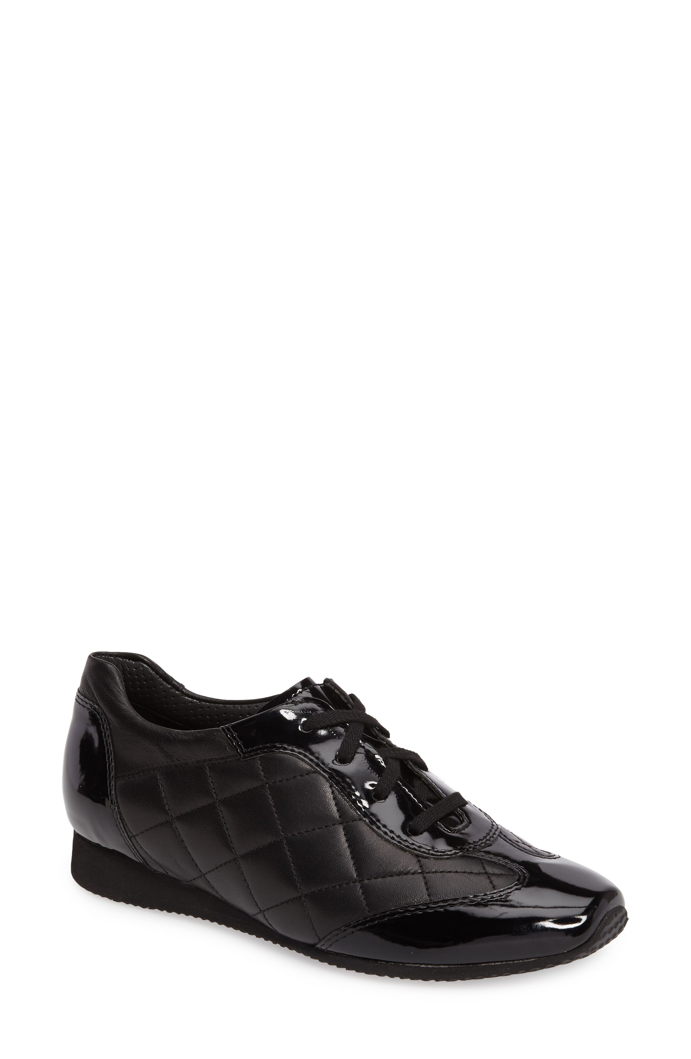 Ilana Sneaker,                             Main thumbnail 1, color,                             BLACK QUILTED LEATHER