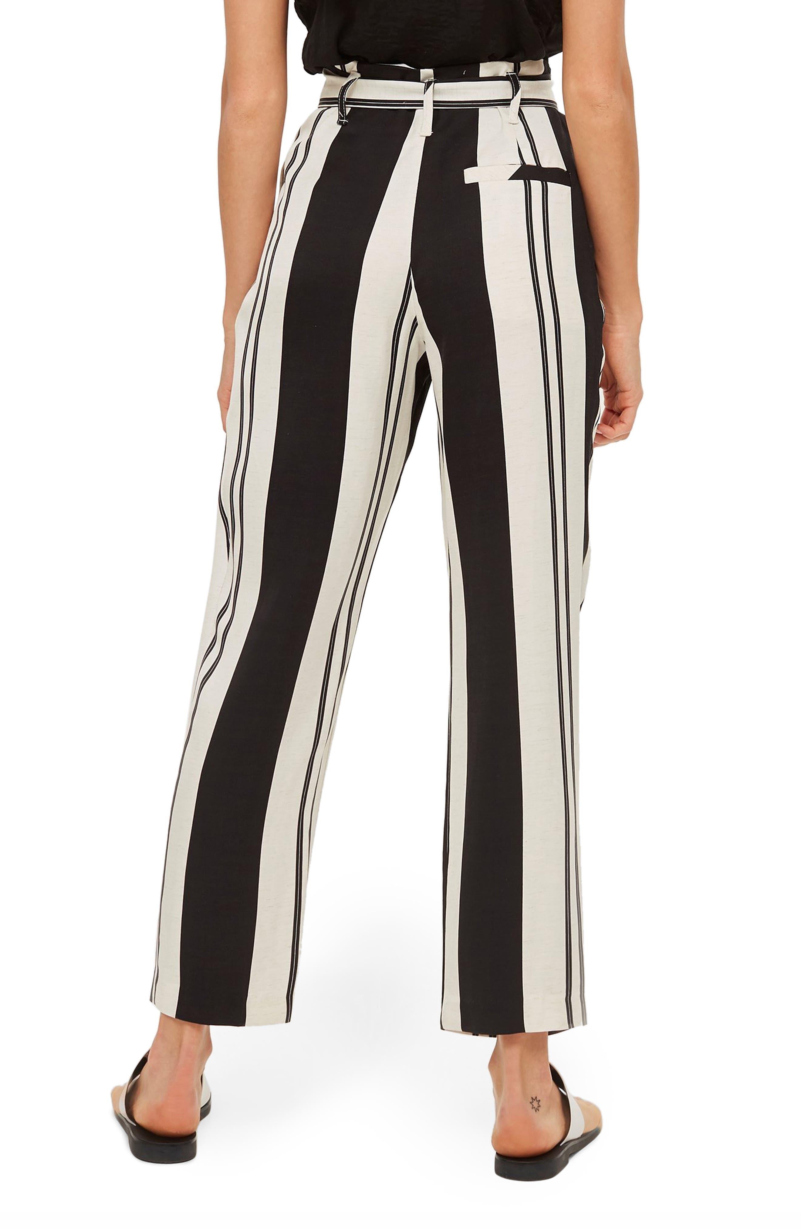 Dolly Stripe Tapered Trousers,                             Alternate thumbnail 2, color,                             BLACK MULTI