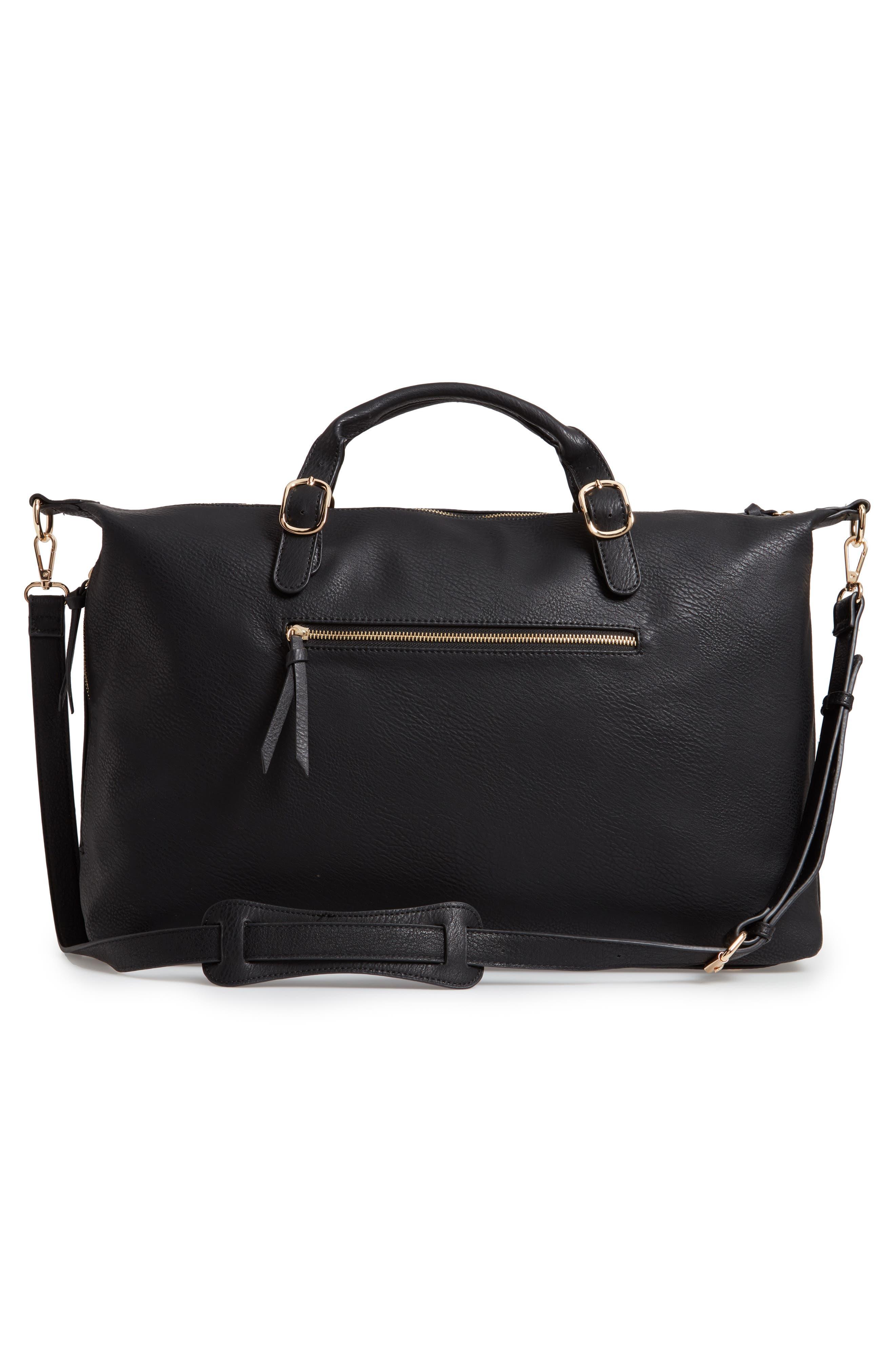 Grant Faux Leather Weekend Bag,                             Alternate thumbnail 3, color,                             BLACK