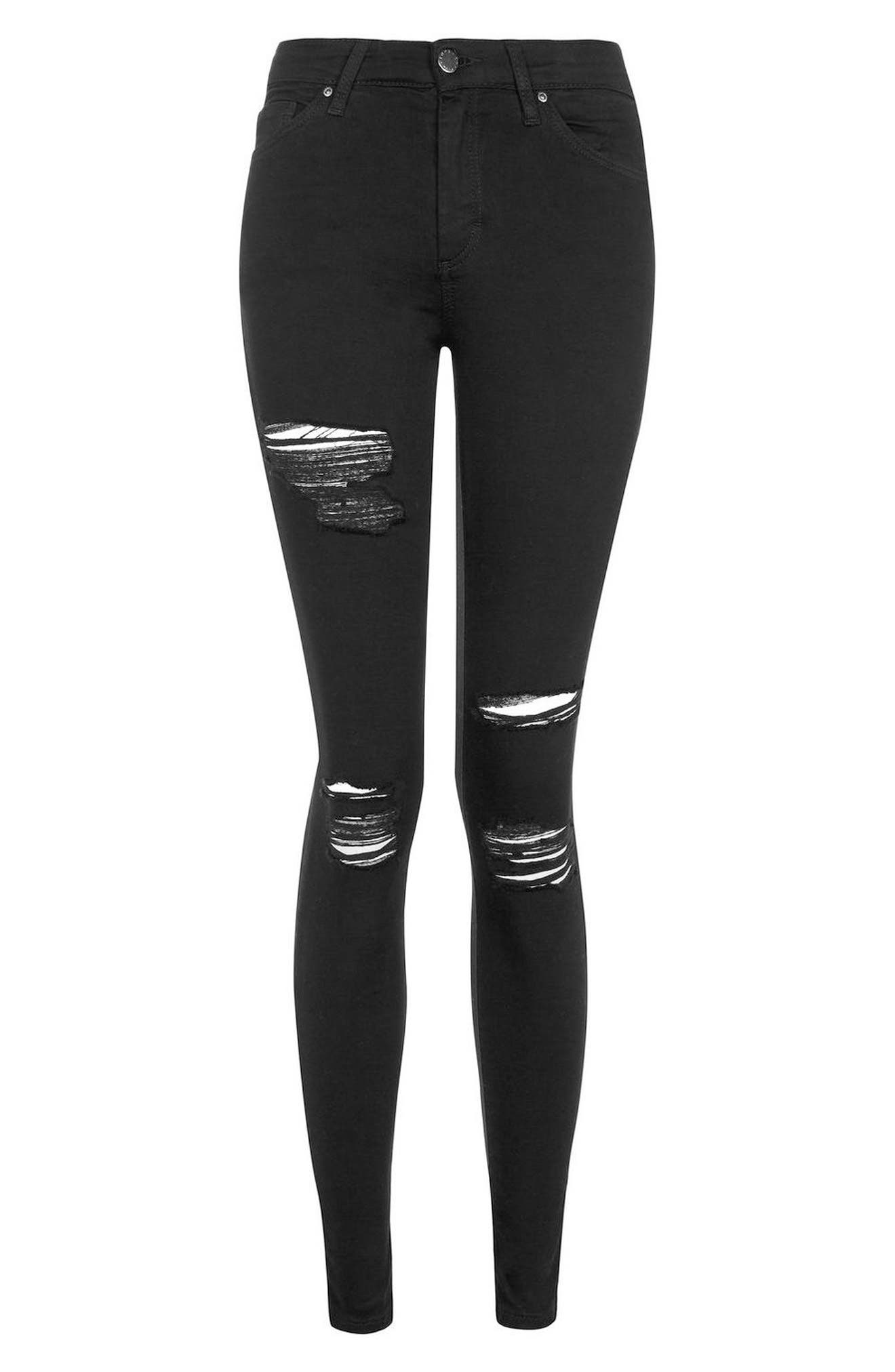 MOTO Leigh Super Rip Jeans,                             Alternate thumbnail 3, color,                             BLACK
