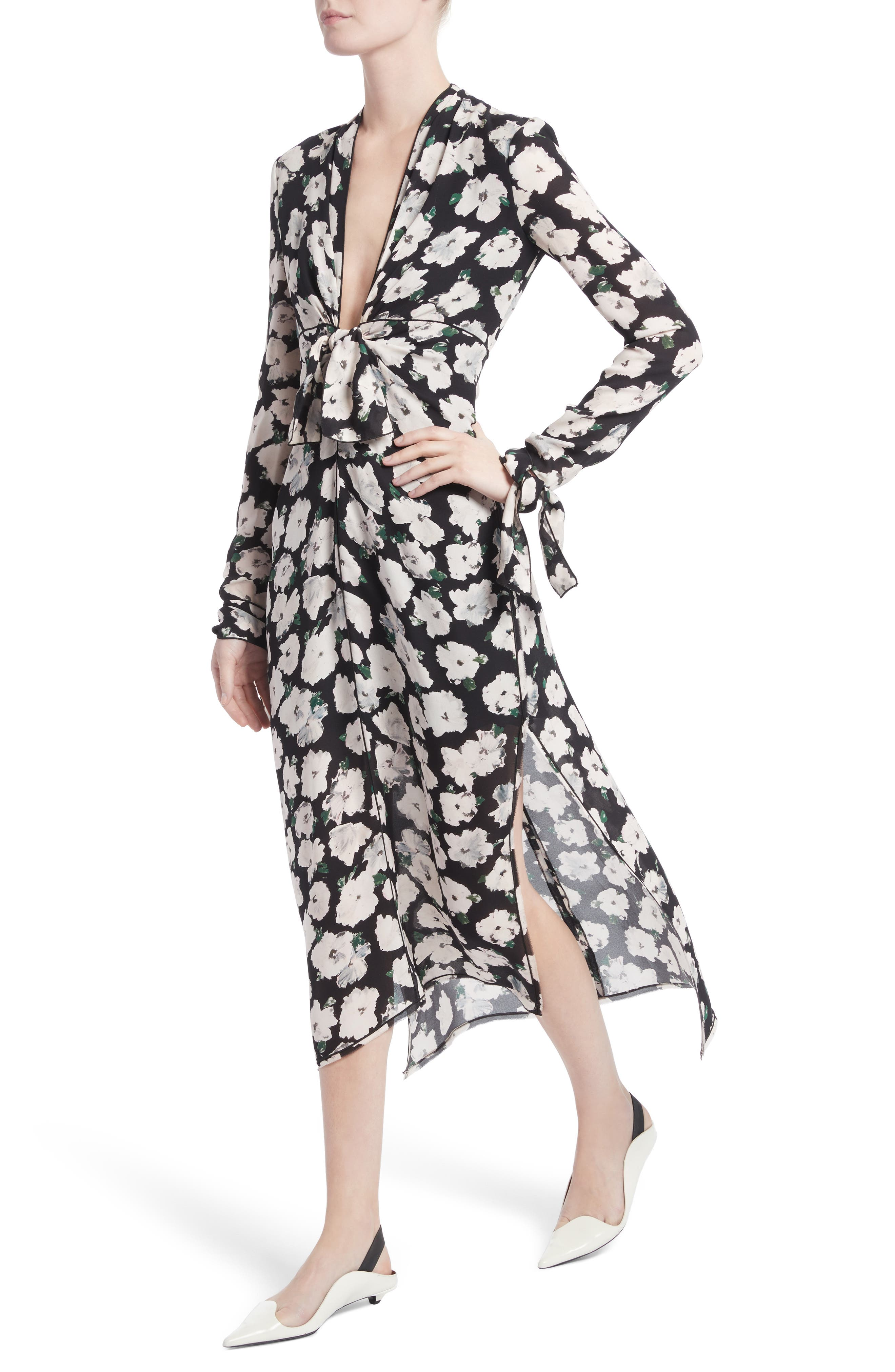 Print Silk Midi Dress,                             Alternate thumbnail 4, color,                             001