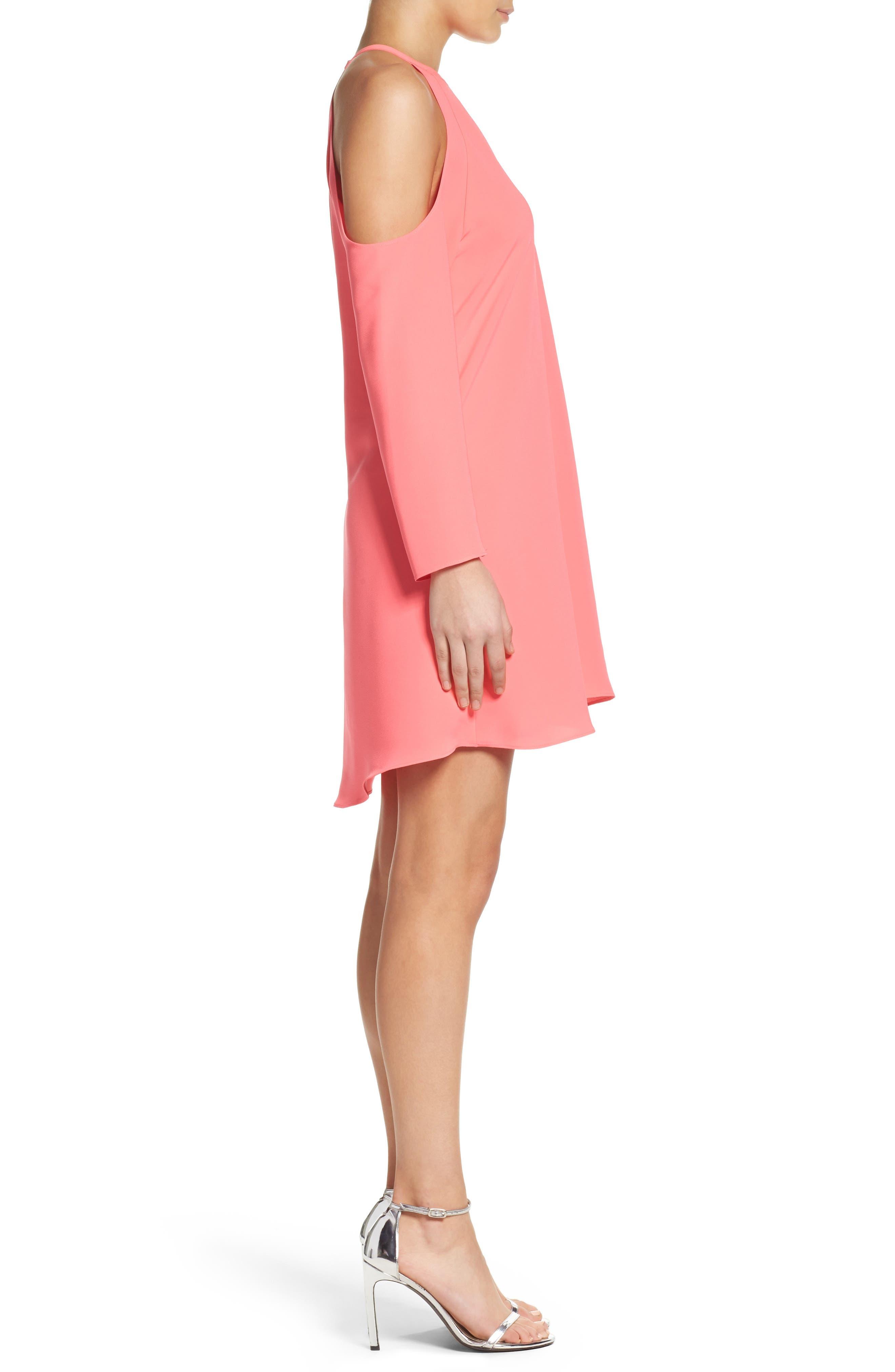 'Jasmine' Cold Shoulder Shift Dress,                             Alternate thumbnail 3, color,                             683