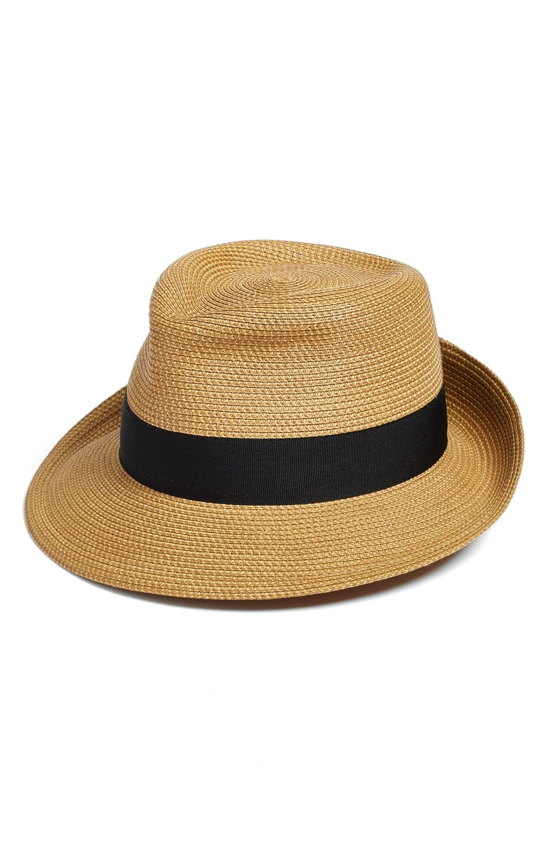 'Classic' Squishee<sup>®</sup> Packable Fedora Sun Hat,                             Main thumbnail 1, color,                             NATURAL/ BLACK