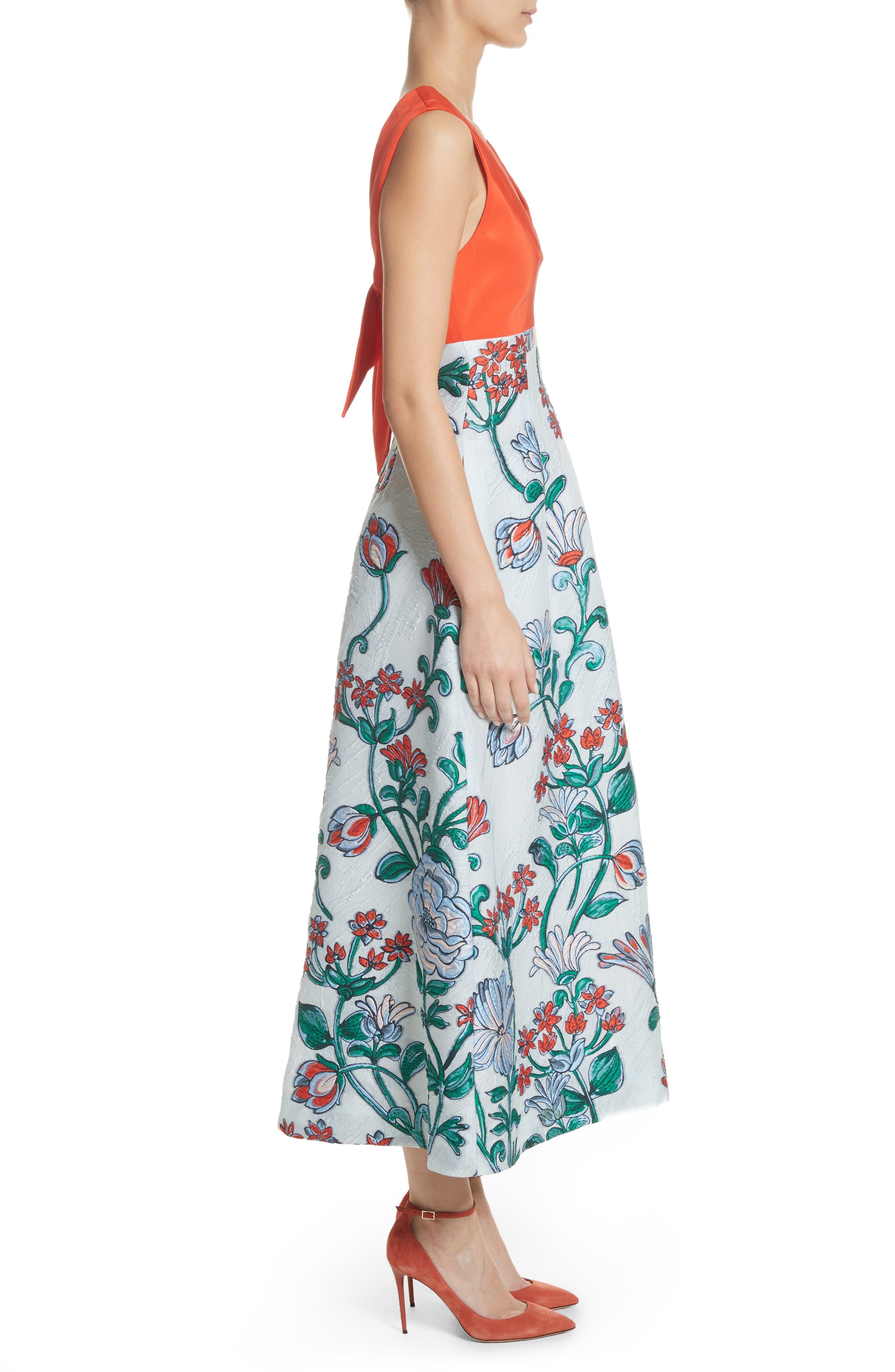 Tie Back Midi Dress,                             Alternate thumbnail 3, color,                             451