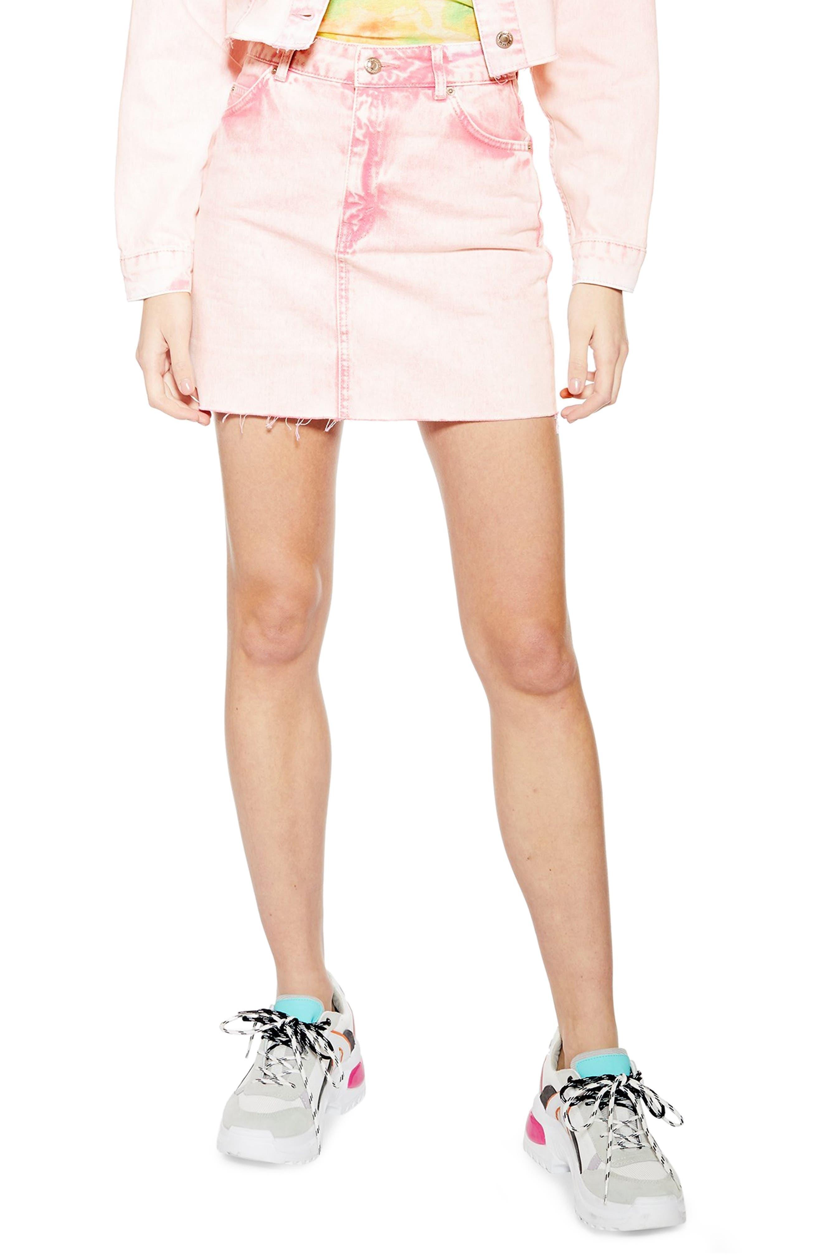 Topshop Acid Wash Denim Skirt, US (fits like 2-4) - Pink