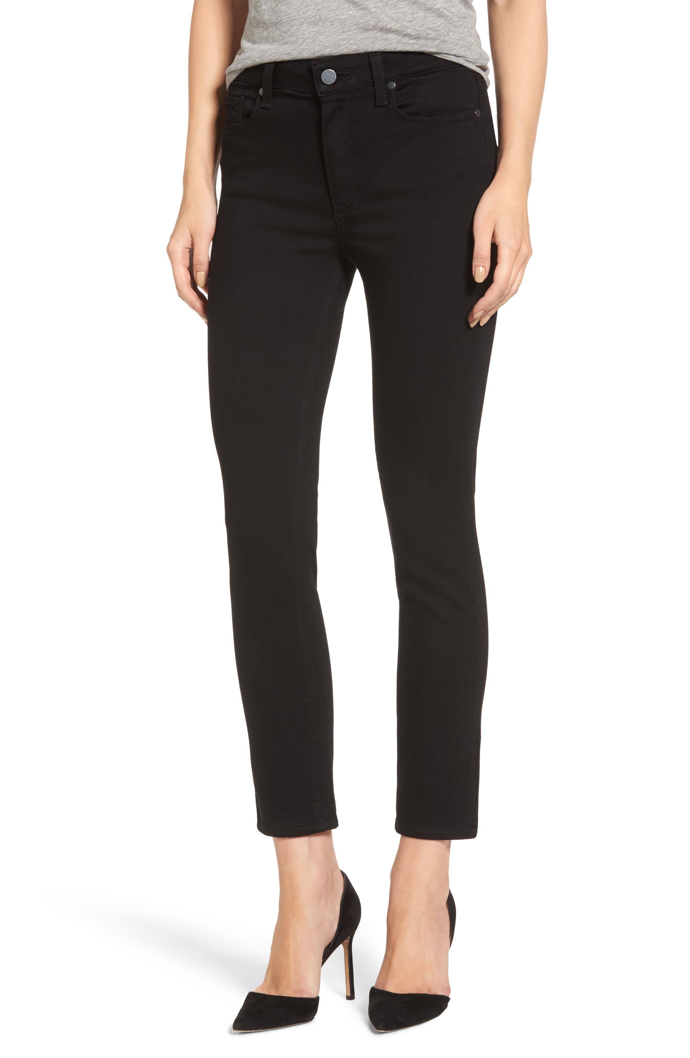 Hoxton Transcend High Waist Crop Skinny Jeans,                             Main thumbnail 1, color,                             BLACK SHADOW