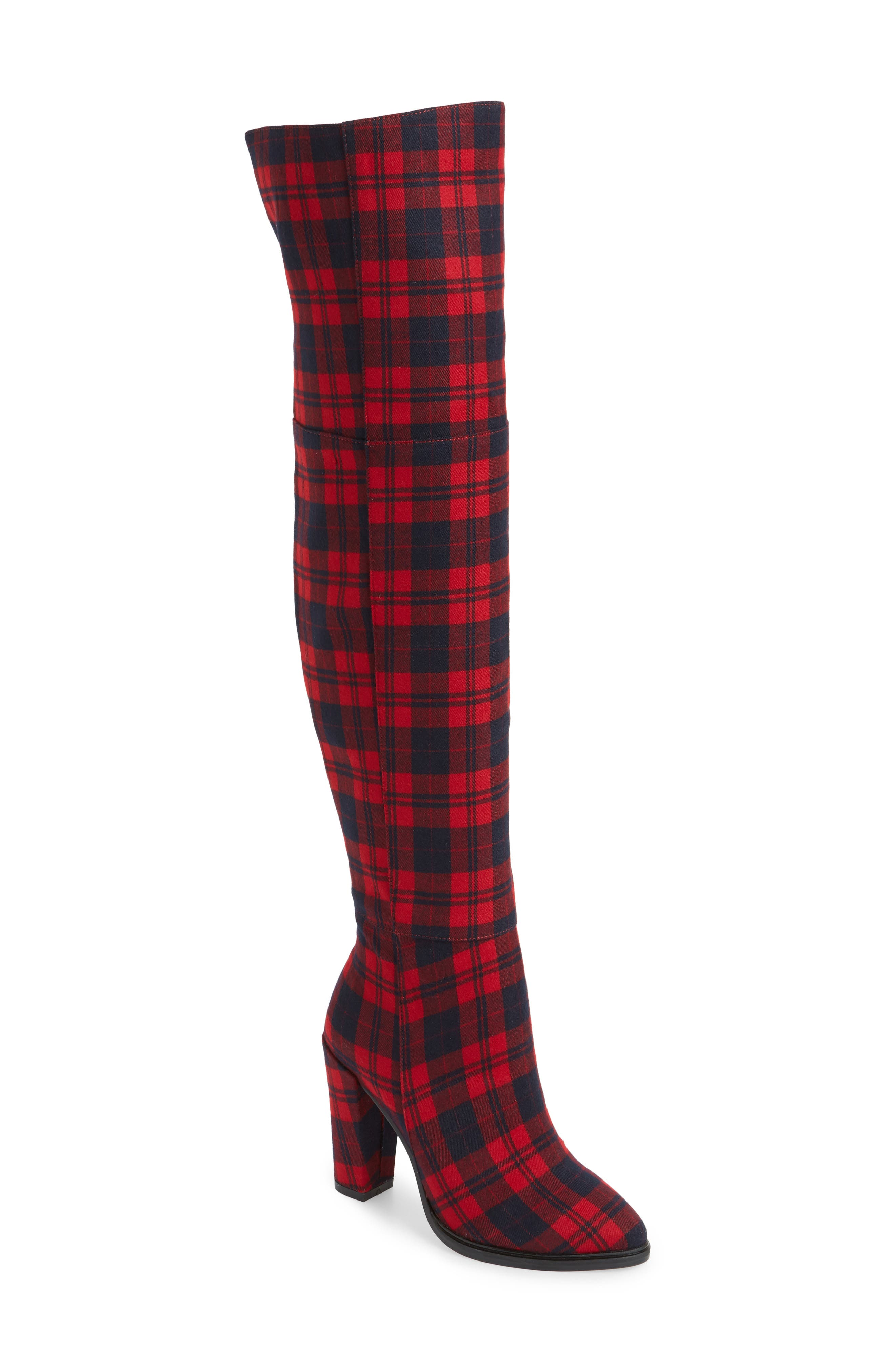 Alla Over the Knee Boot,                             Main thumbnail 1, color,                             RED TARTAN
