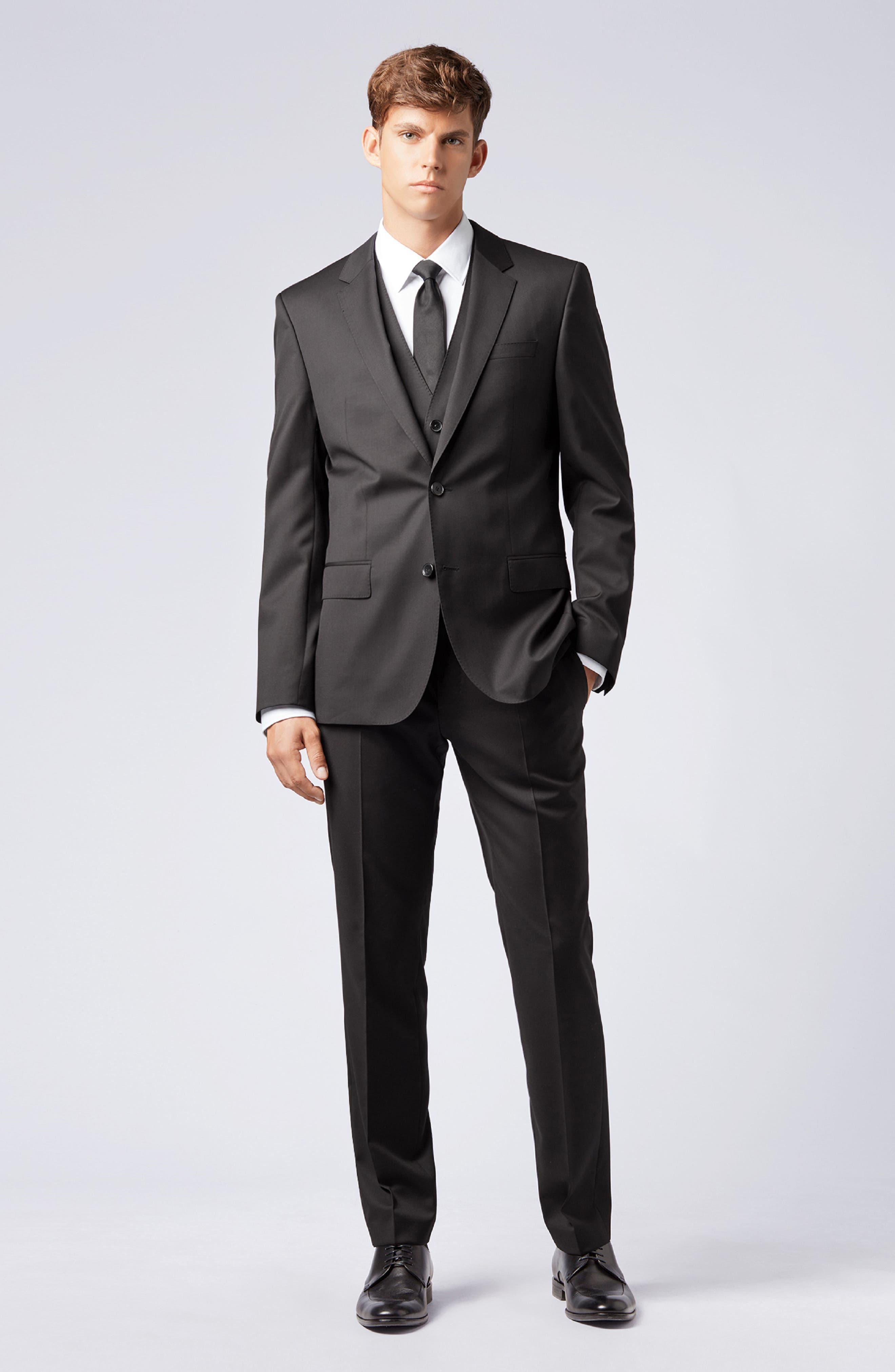 BOSS,                             Wilson CYL Trim Fit Vest,                             Alternate thumbnail 7, color,                             BLACK