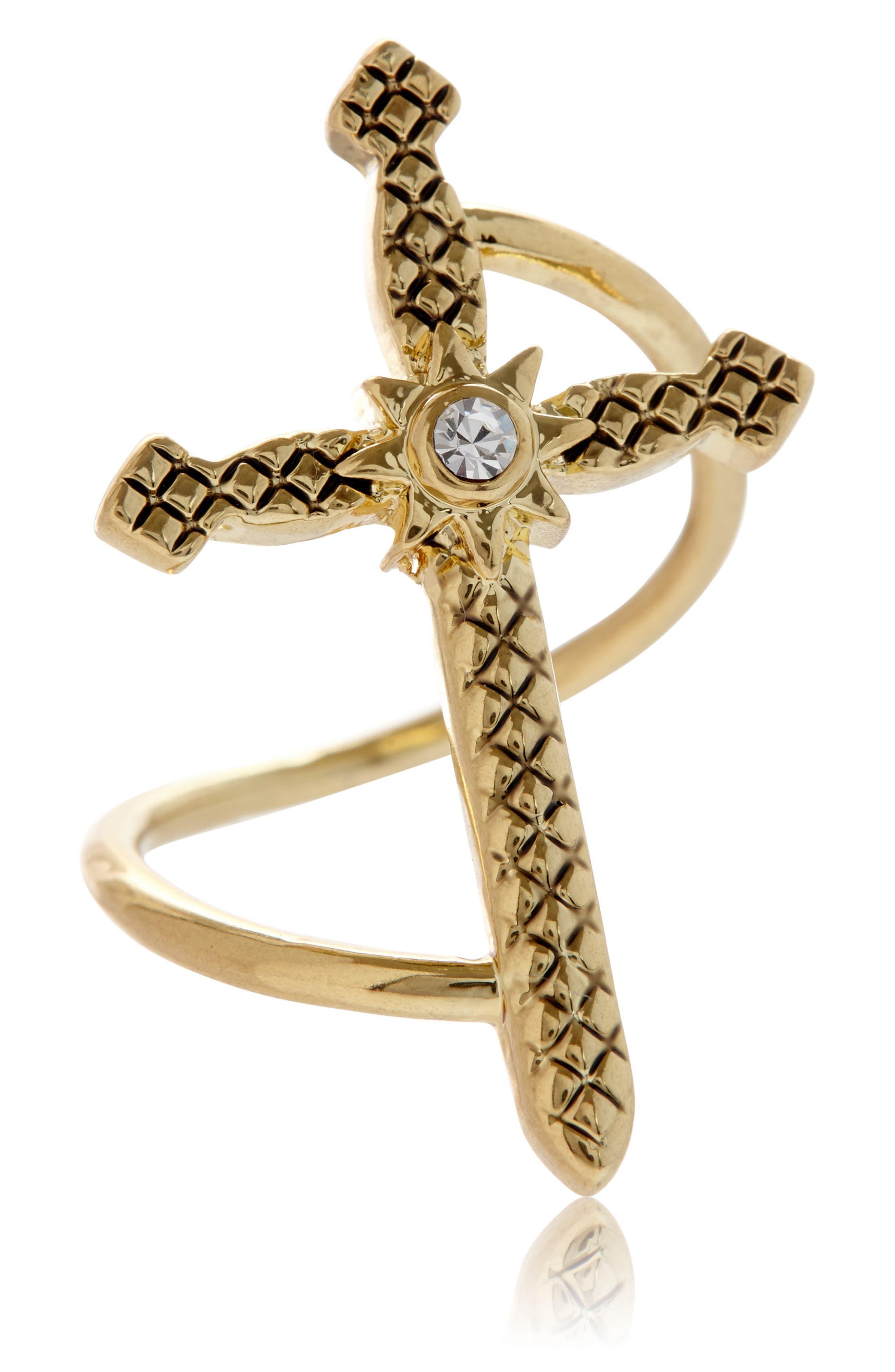 Serpent Cross Ring,                             Main thumbnail 2, color,