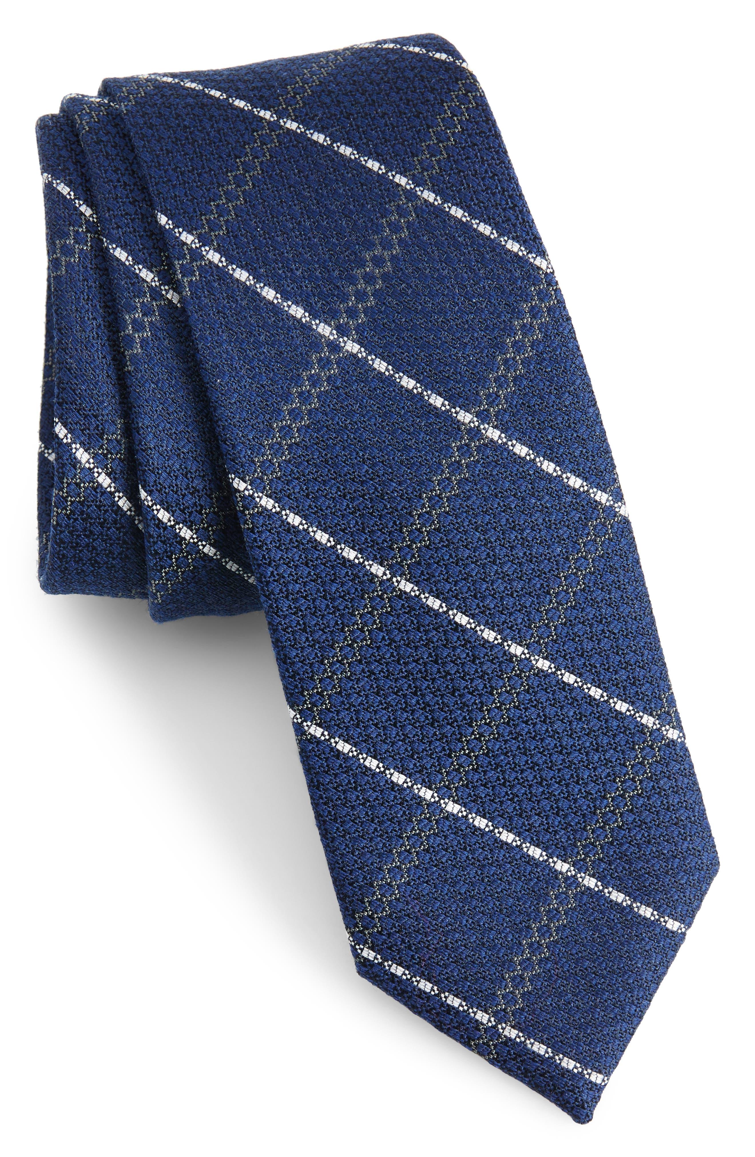 Plaid Silk & Wool Tie,                         Main,                         color, NAVY