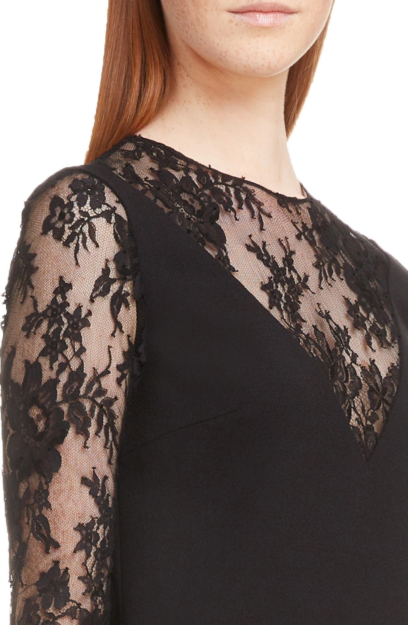 Lace Illusion Dress,                             Alternate thumbnail 4, color,                             001-BLACK