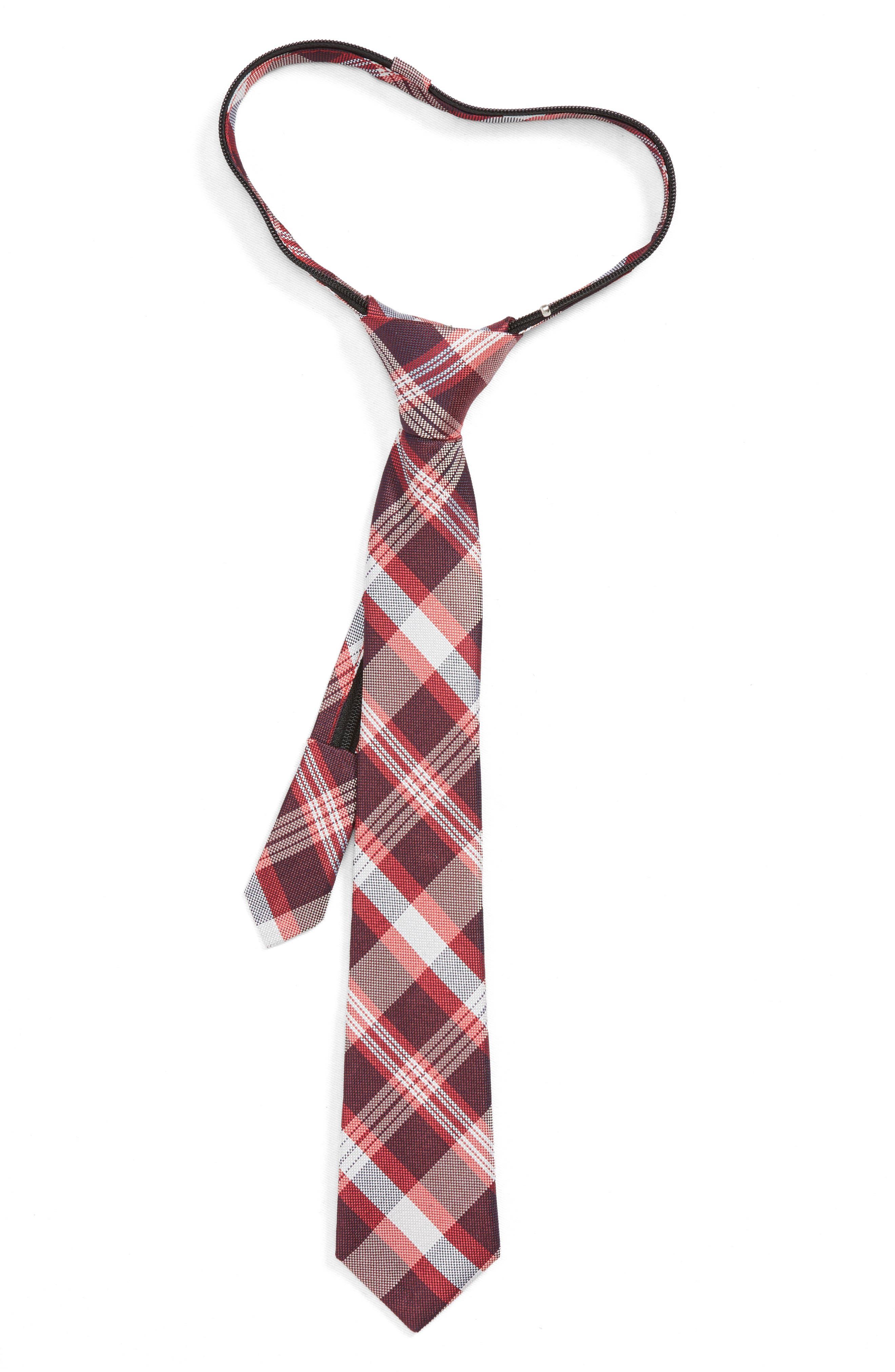 Plaid Silk Zip Tie,                         Main,                         color, RED