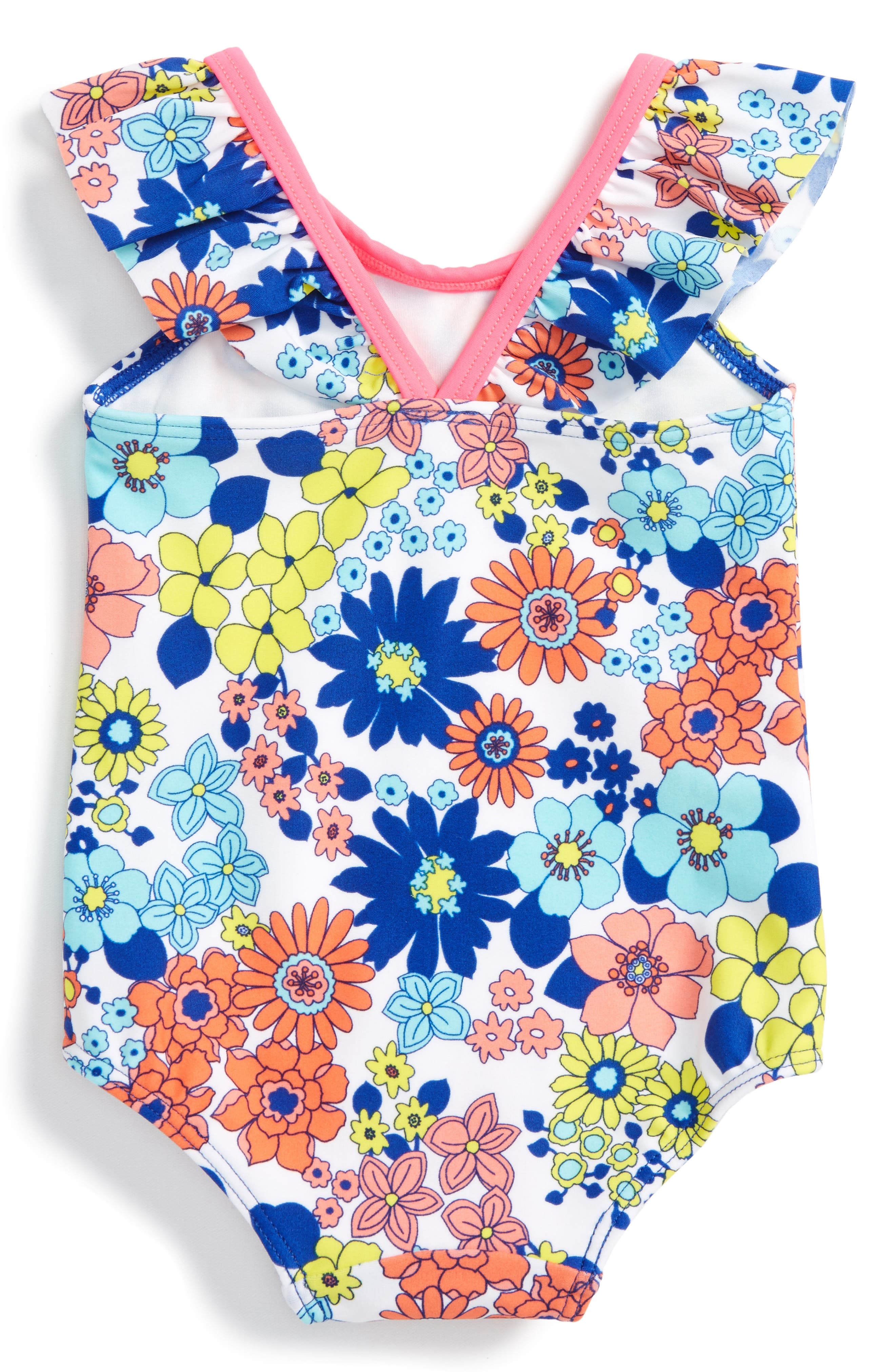 Flutter Sleeve One-Piece Swimsuit,                             Alternate thumbnail 2, color,                             100
