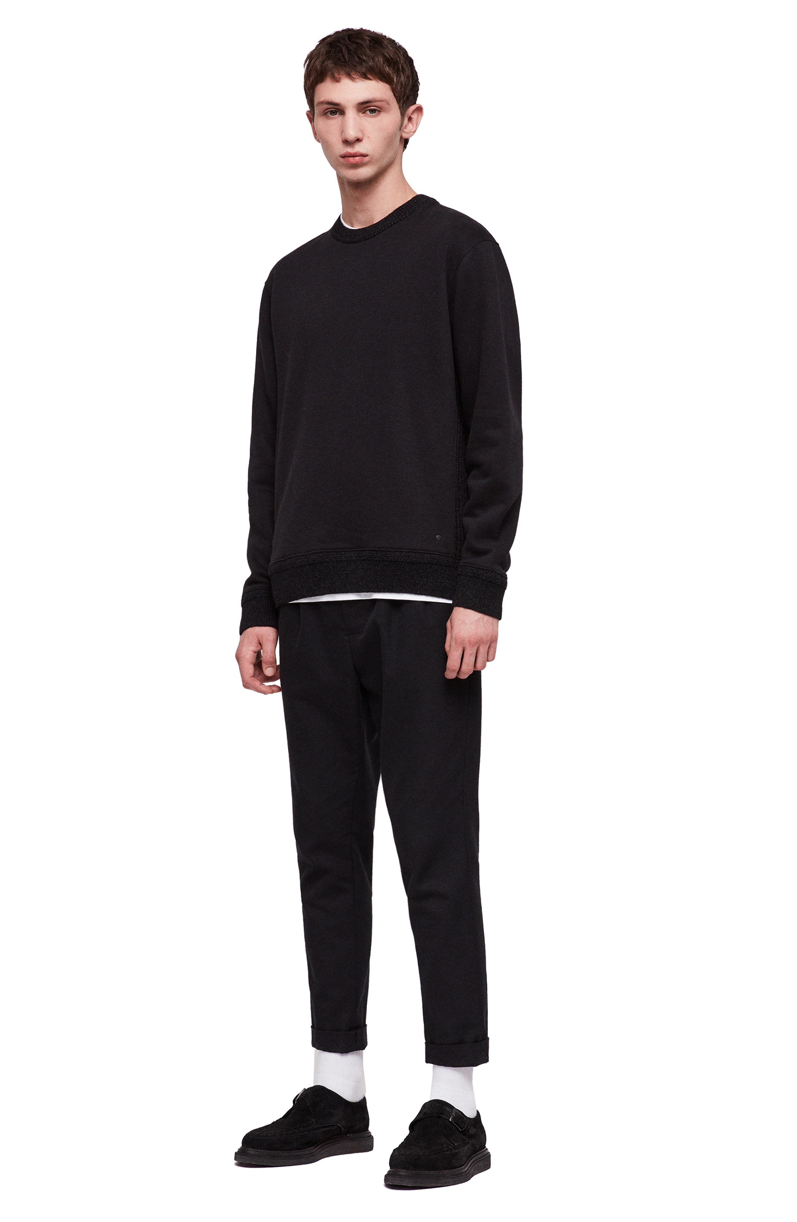 Senior Crewneck Regular Fit Sweatshirt,                             Alternate thumbnail 4, color,                             JET BLACK