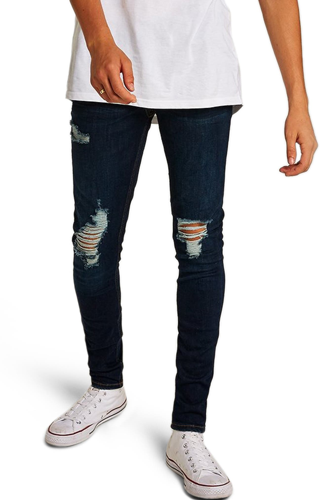 Skinny Fit Ripped Spray-On Jeans,                             Main thumbnail 1, color,                             BLUE