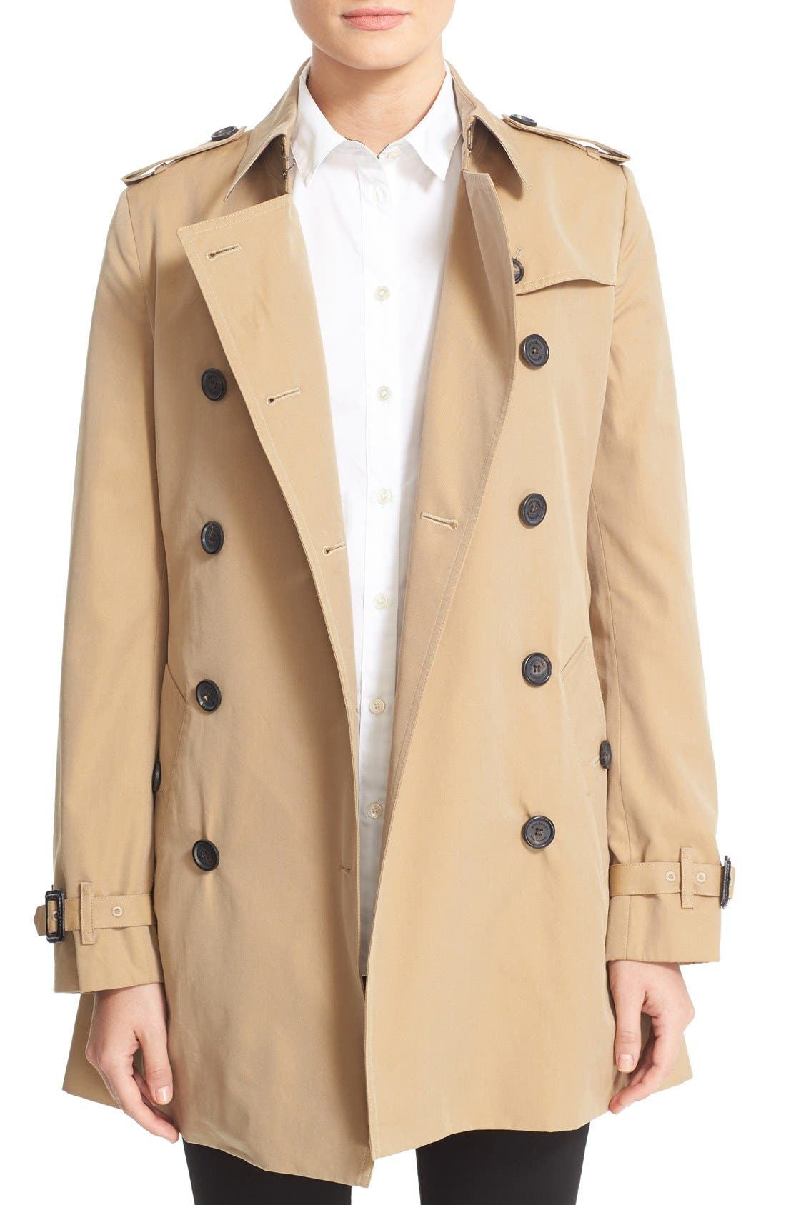 Kensington Short Trench Coat,                             Main thumbnail 1, color,                             HONEY