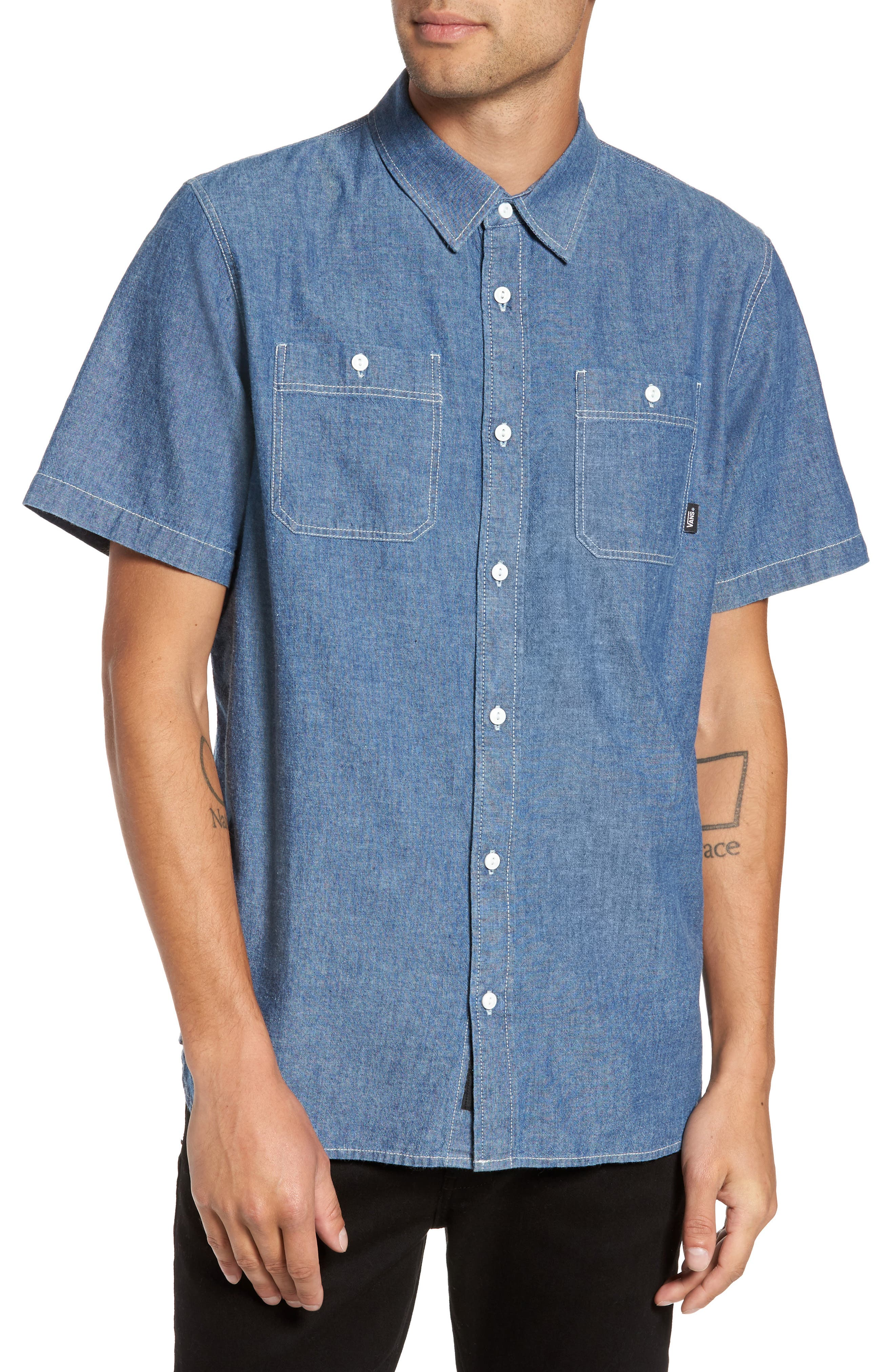 Carlow Chambray Woven Shirt,                             Main thumbnail 1, color,