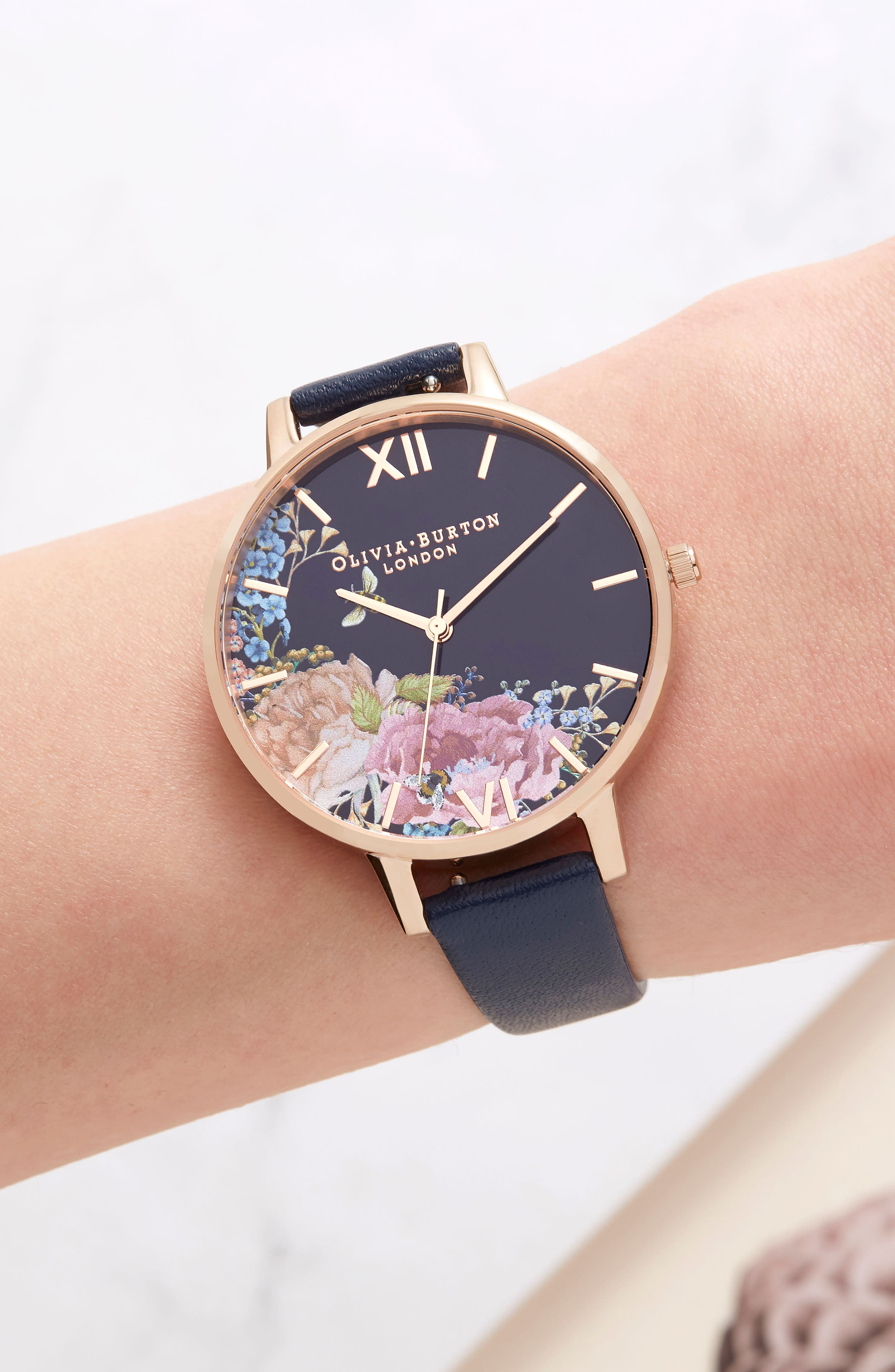 Enchanted Garden Leather Strap Watch, 38mm,                             Alternate thumbnail 7, color,                             NAVY/ FLORAL/ ROSE GOLD
