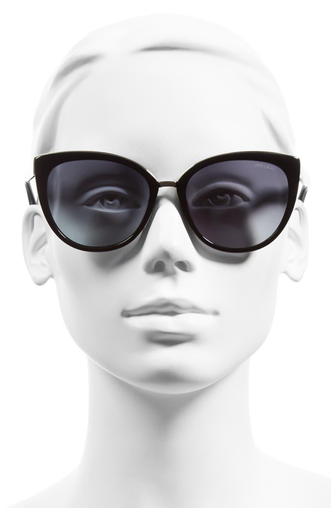 'Danas' 56mm Cat Eye Sunglasses,                             Alternate thumbnail 2, color,                             001