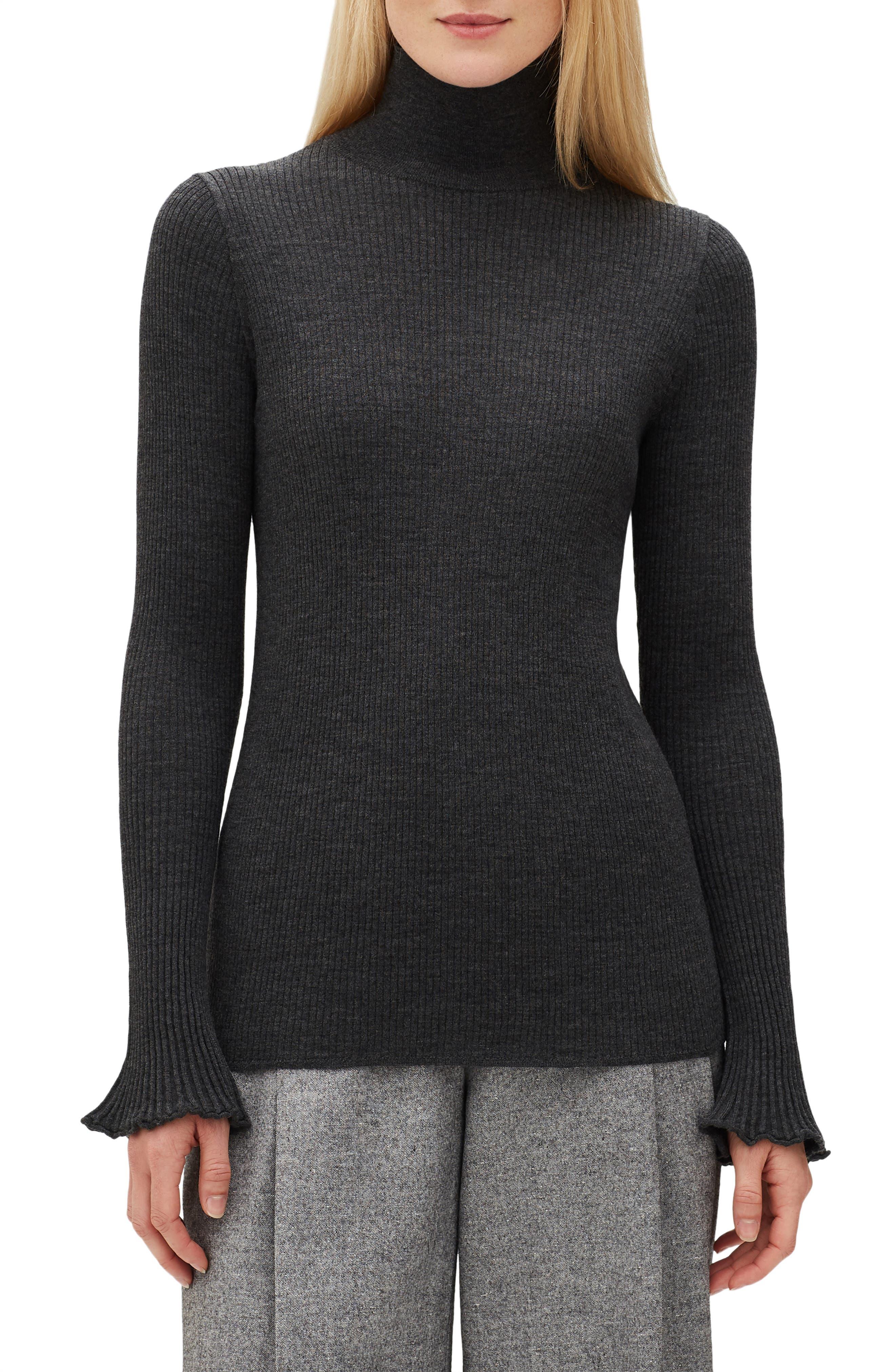 Lafayette 148 New York Rib Knit Merino Wool Sweater, Grey