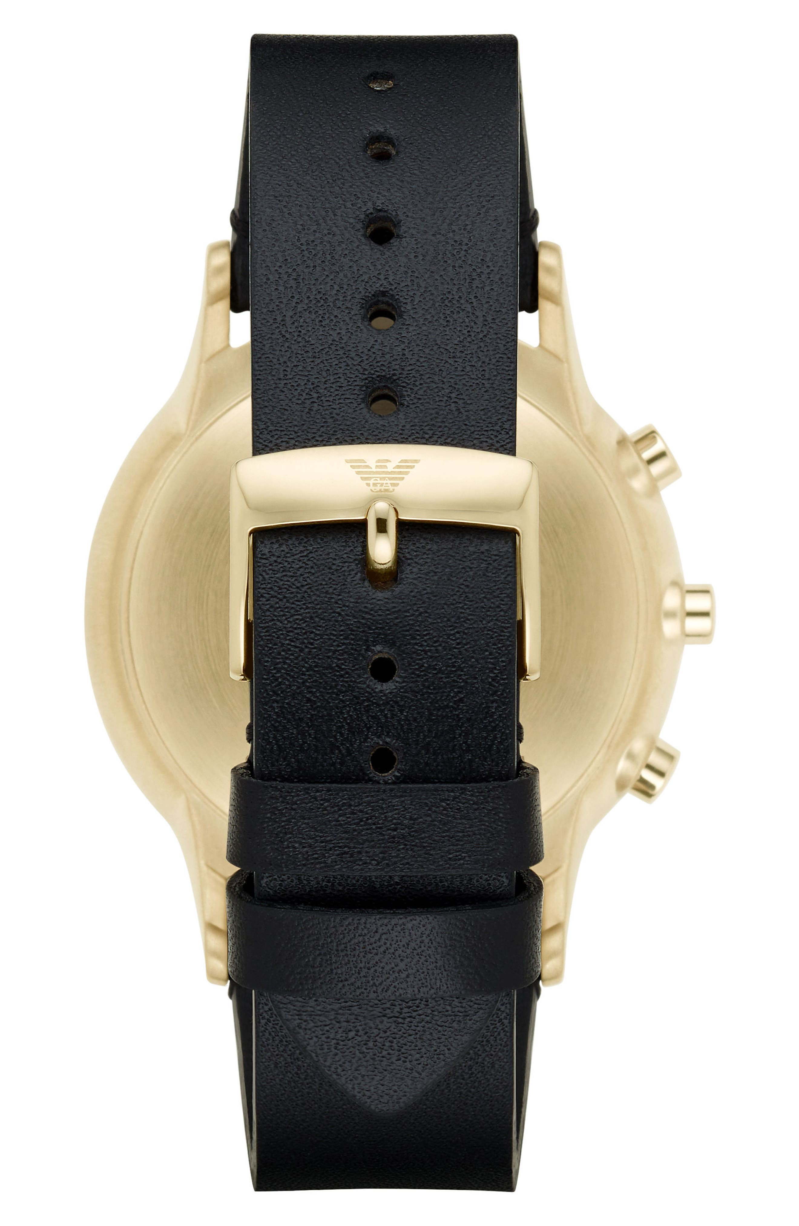 Leather Strap Hybrid Smart Watch, 43mm,                             Alternate thumbnail 2, color,                             001