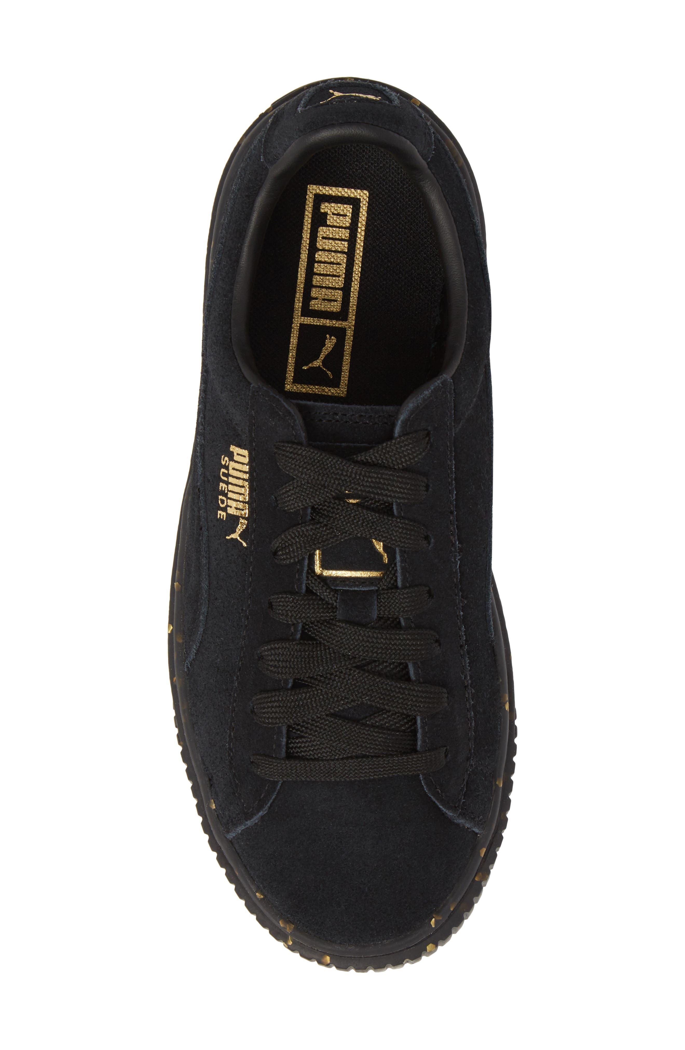 Suede Platform Sneaker,                             Alternate thumbnail 5, color,                             001