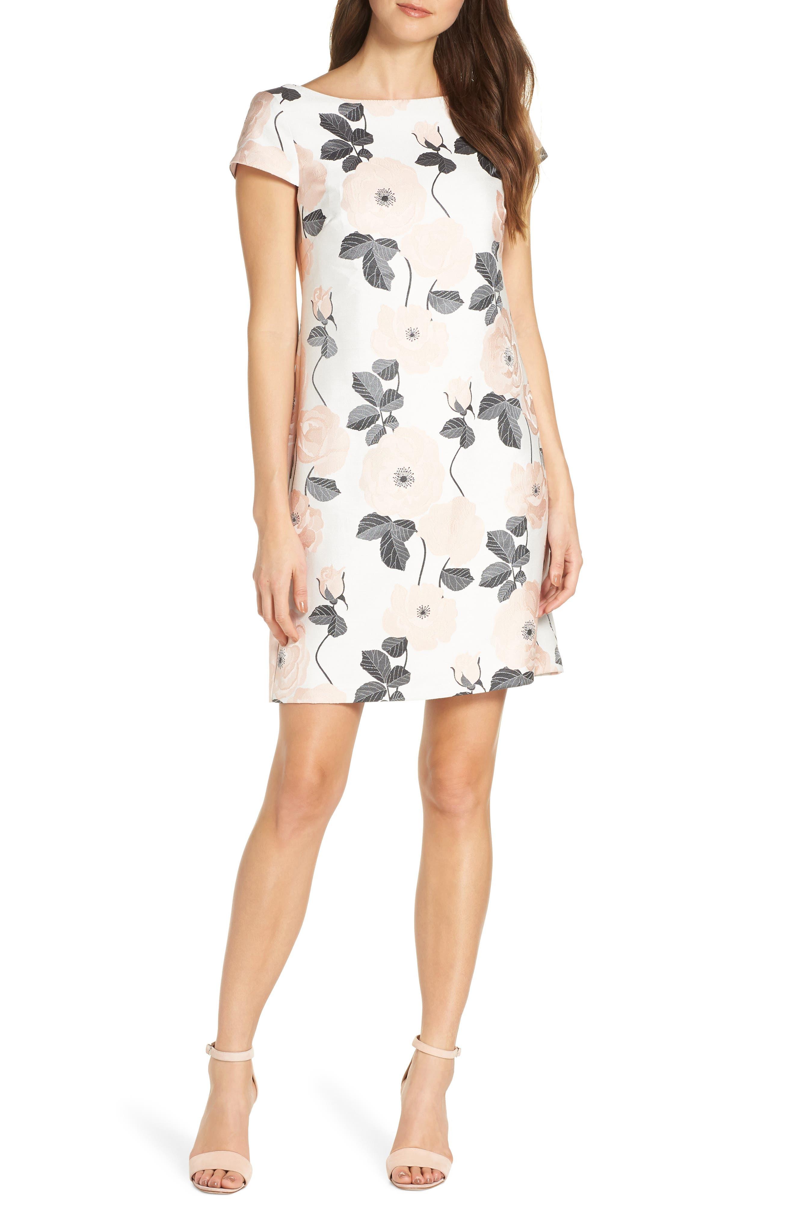 Vince Camuto Floral Jacquard Shift Dress, White