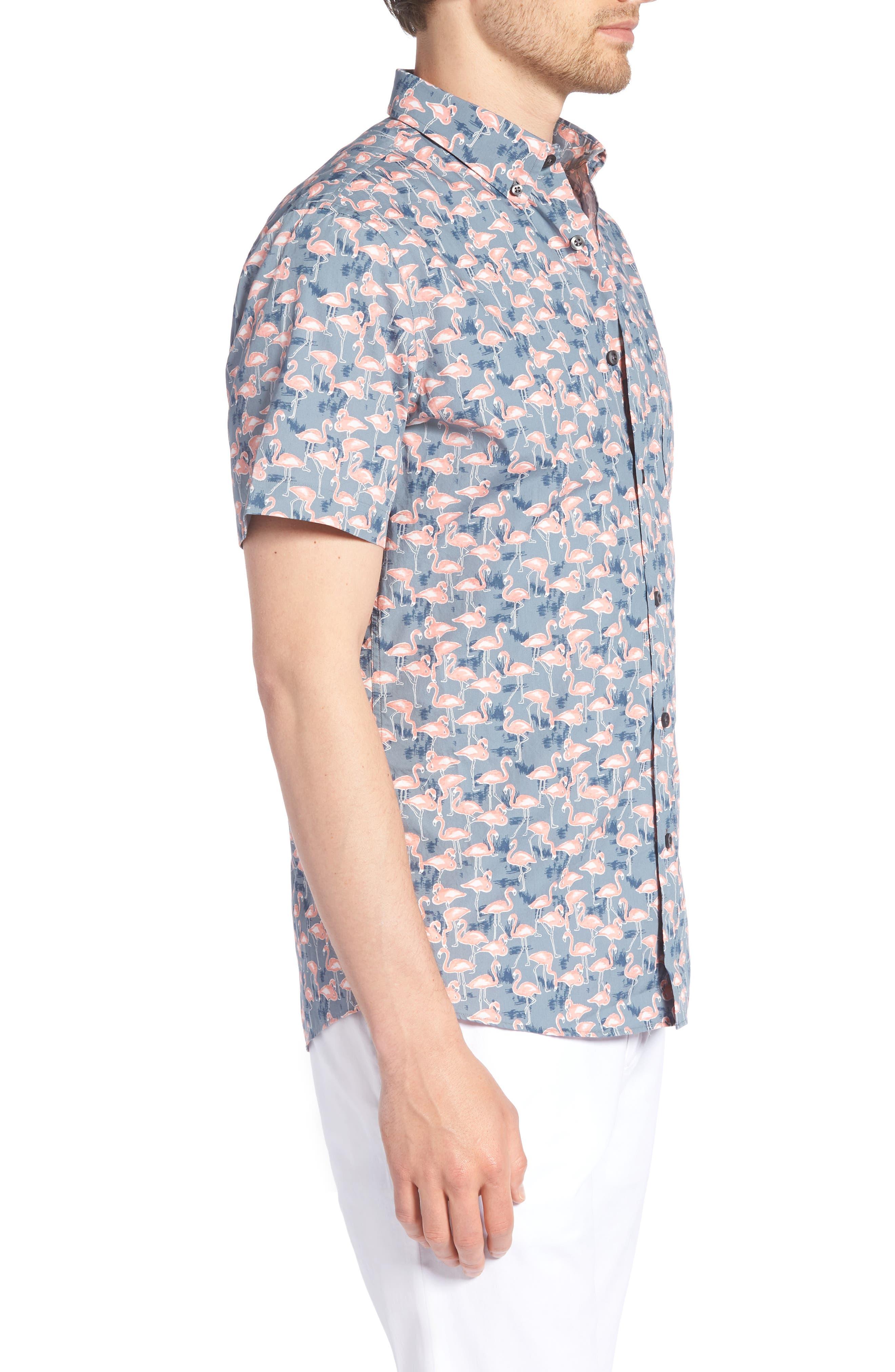 Trim Fit Print Short Sleeve Sport Shirt,                             Alternate thumbnail 3, color,                             GREY GRISALLE PINK FLAMINGOS