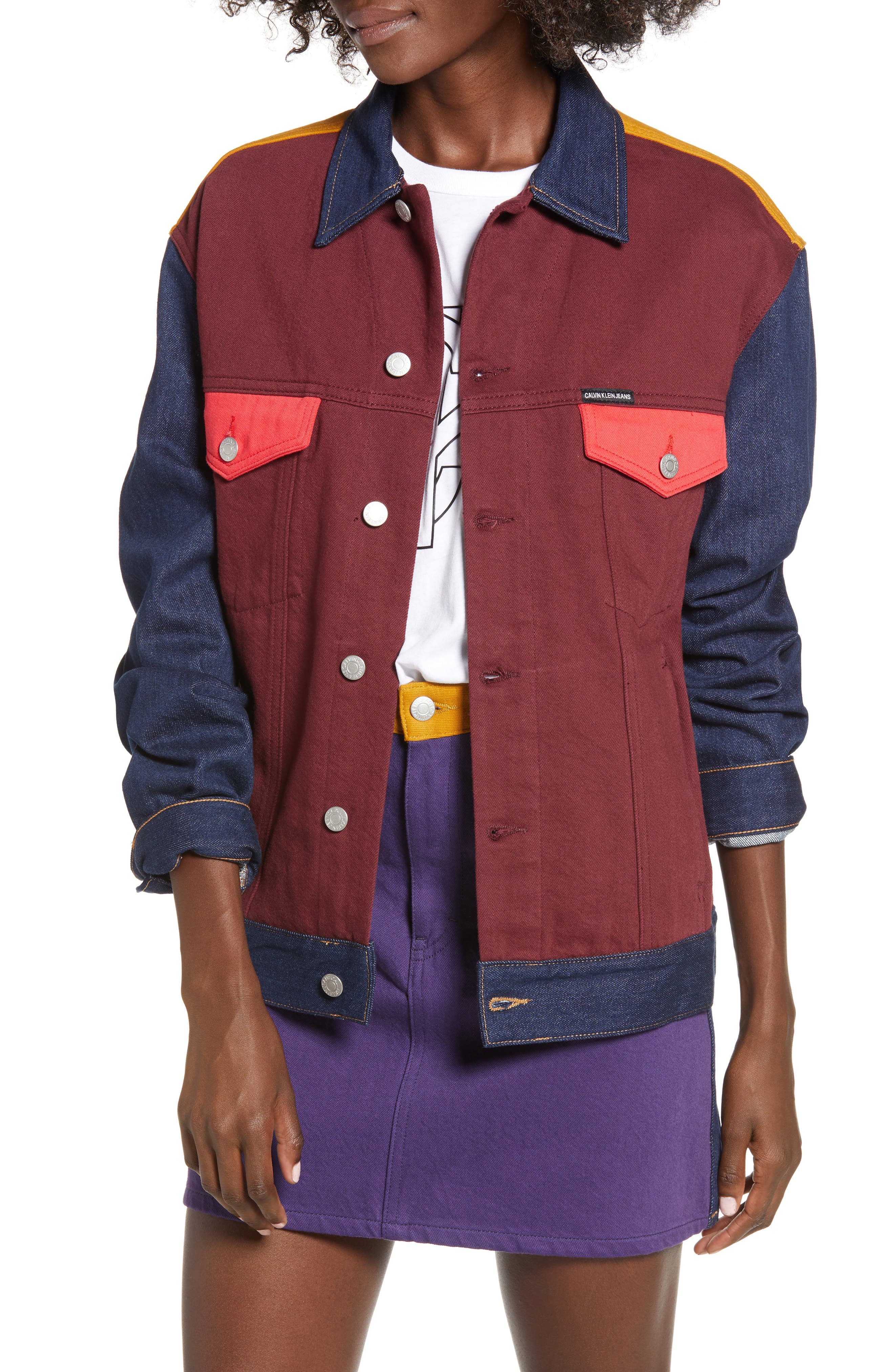 Colorblock Trucker Jacket,                             Main thumbnail 1, color,                             UKELELY PATCH