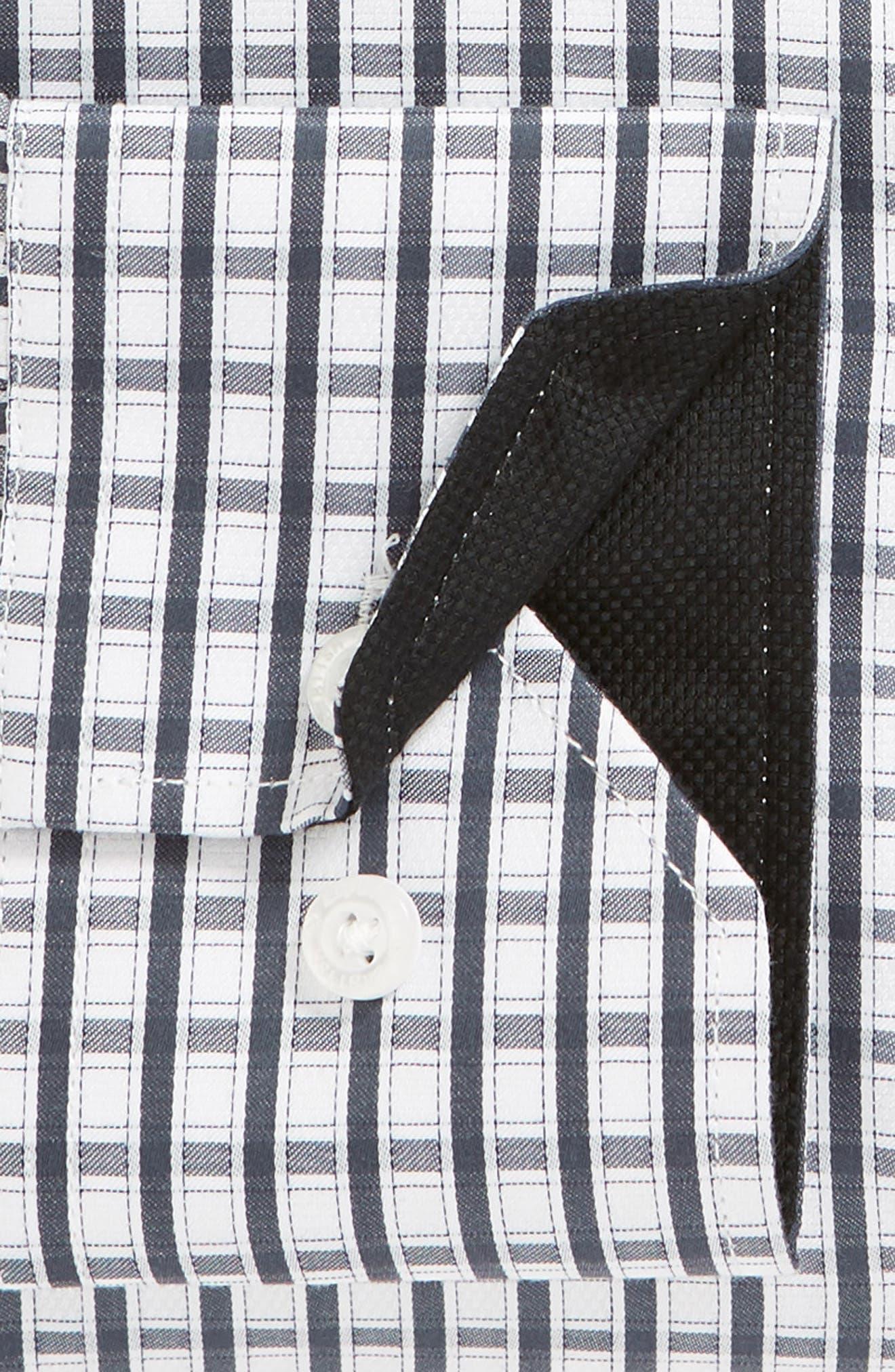 Regular Fit Check Dress Shirt,                             Alternate thumbnail 6, color,                             BLACK