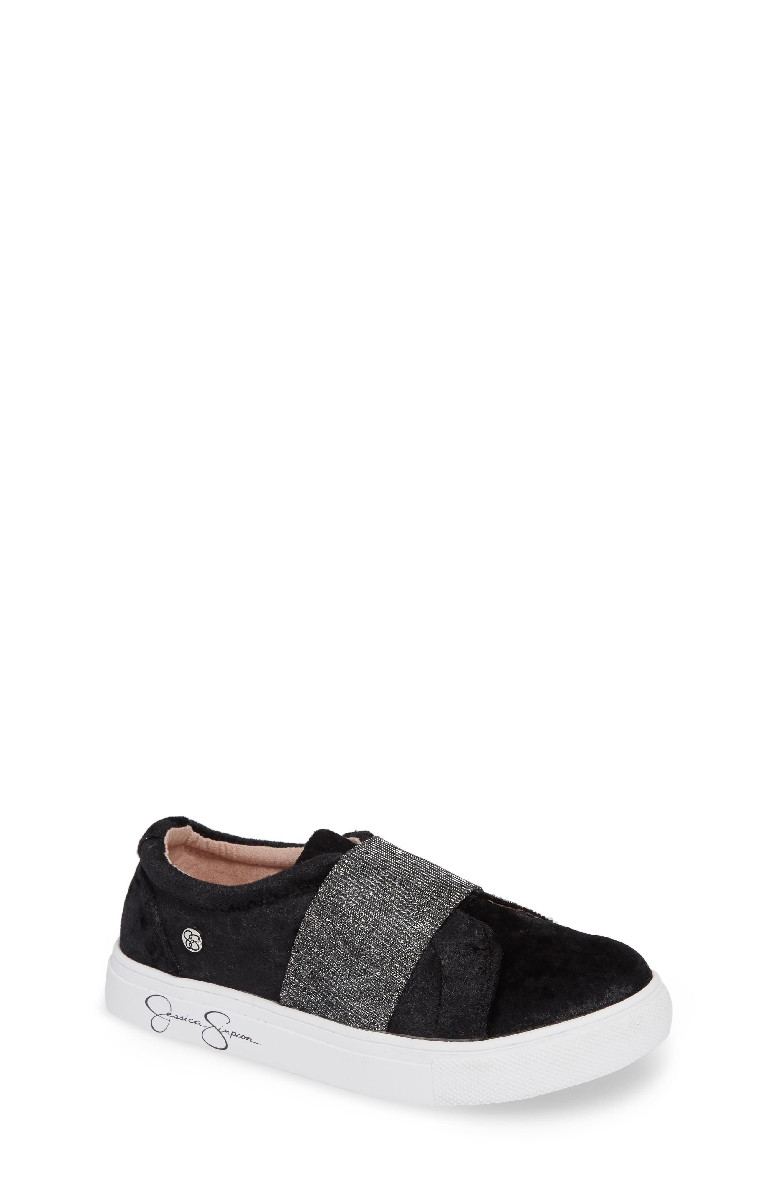 Sparkle Slip-On Sneaker,                             Main thumbnail 1, color,                             BLACK CRUSHED VELVET