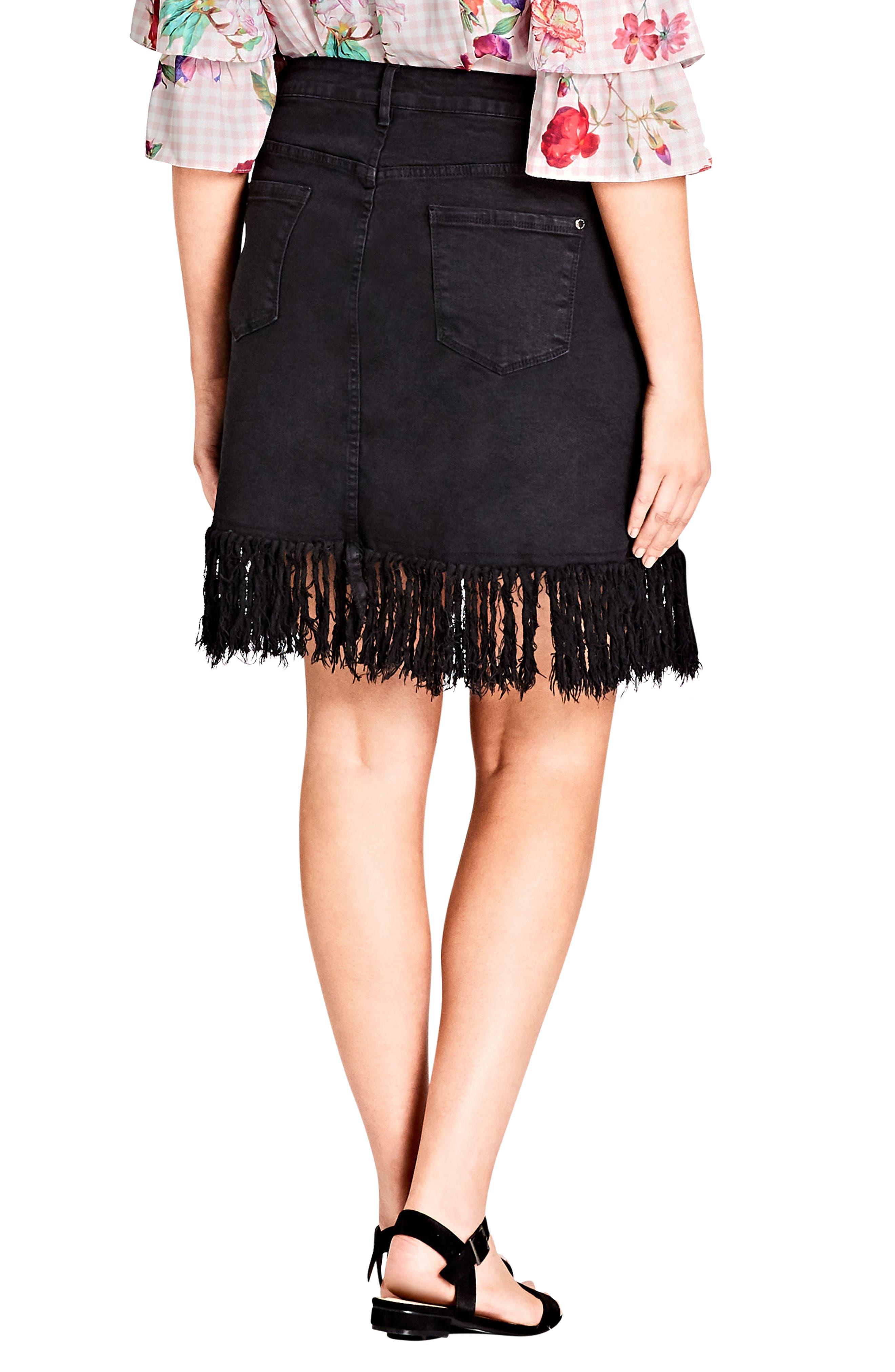 Frayed Hem Denim Skirt,                             Alternate thumbnail 2, color,                             BLACK