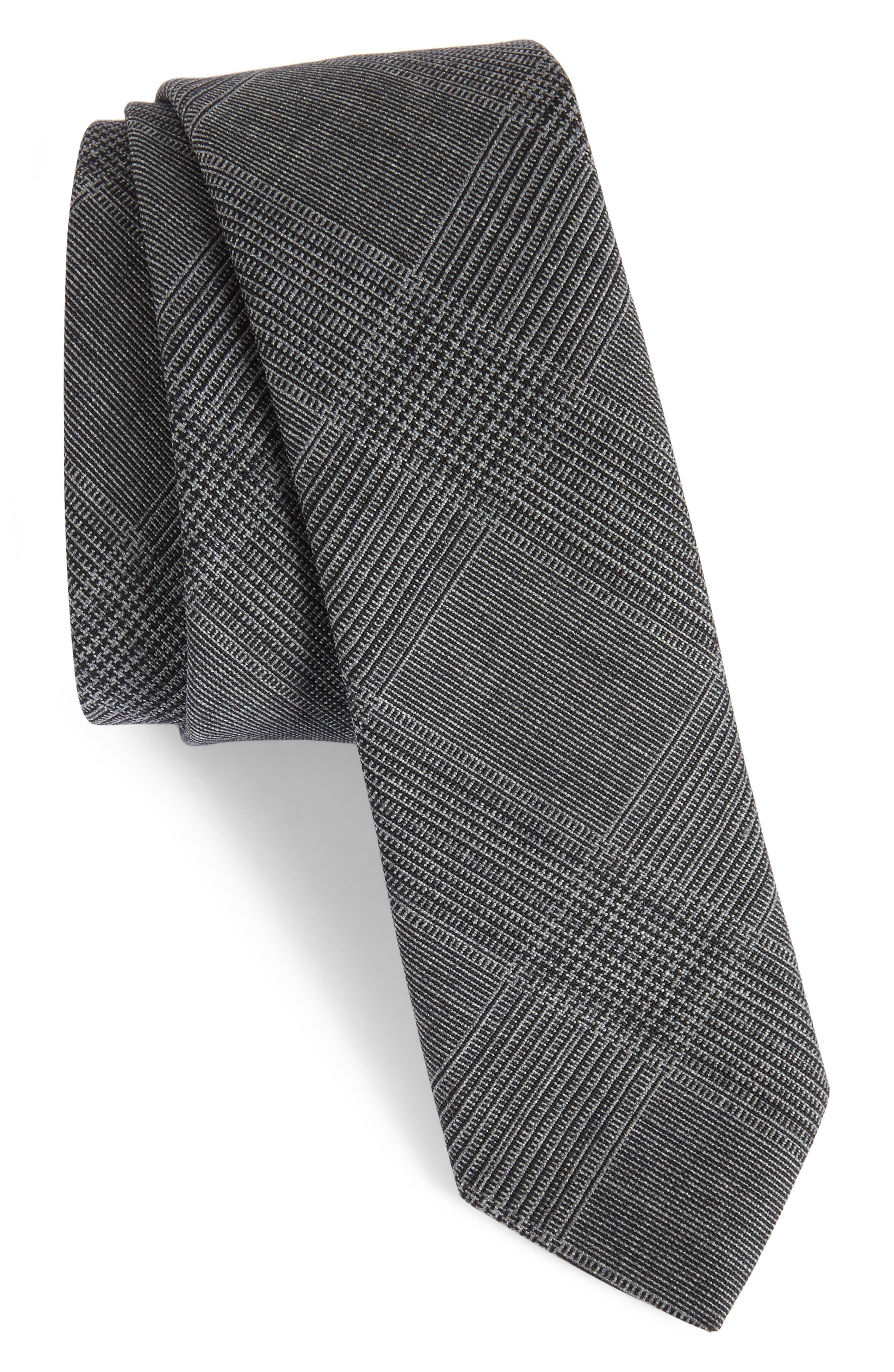 Glen Plaid Wool Skinny Tie,                         Main,                         color, CHARCOAL