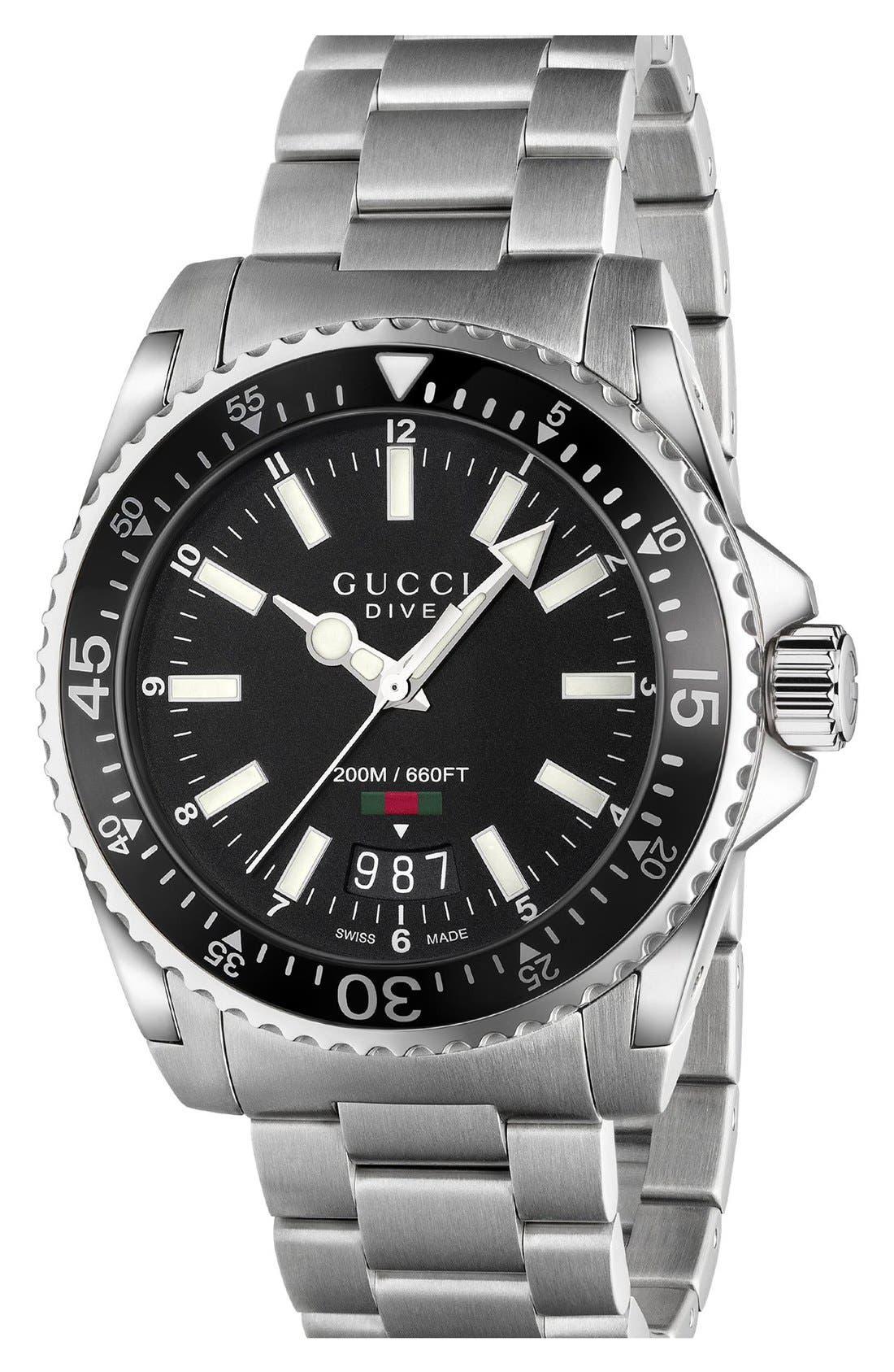 Dive Bracelet Watch, 40mm,                         Main,                         color, SILVER/ BLACK