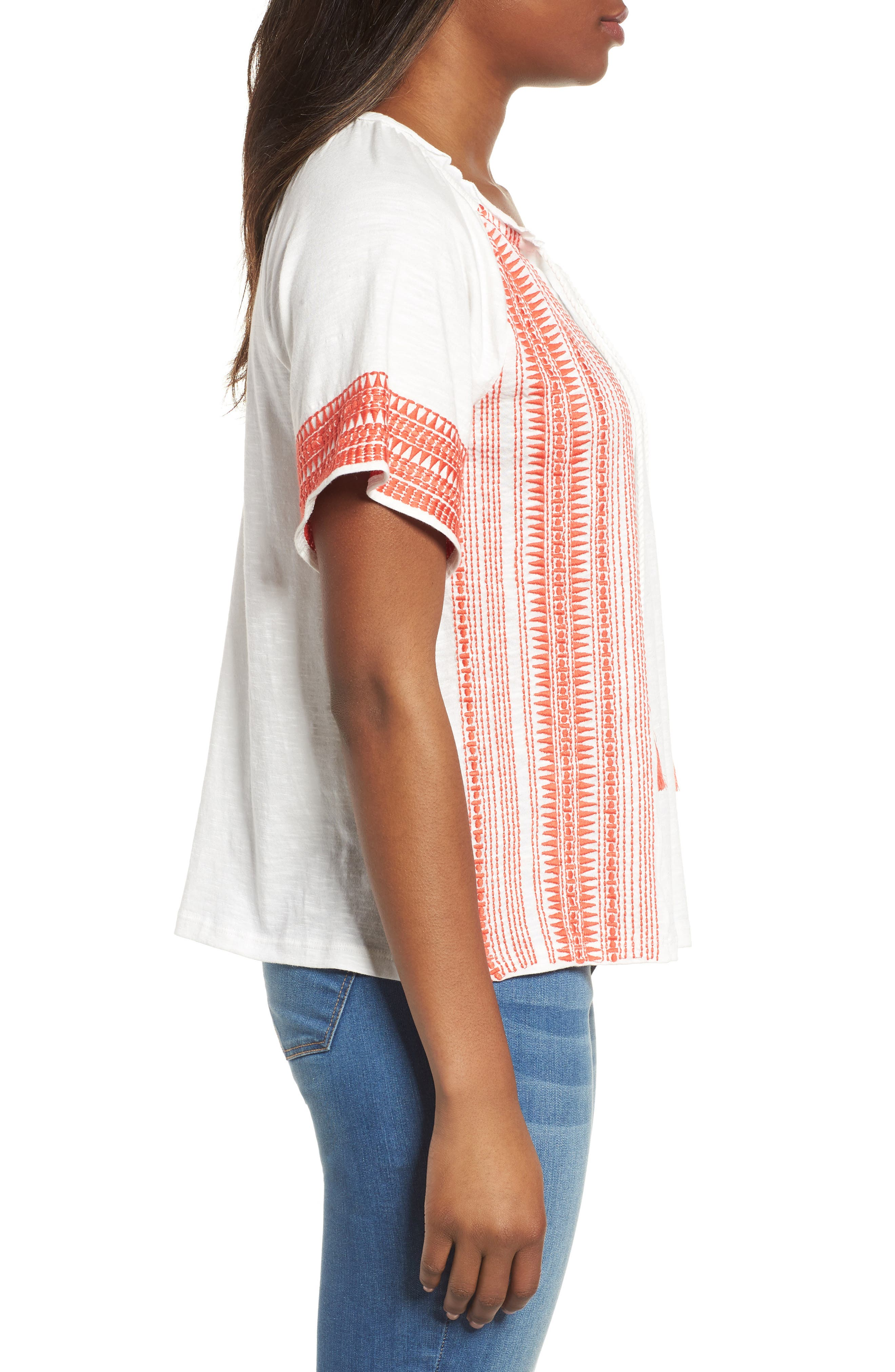 Embroidered Border Peasant Top,                             Alternate thumbnail 10, color,