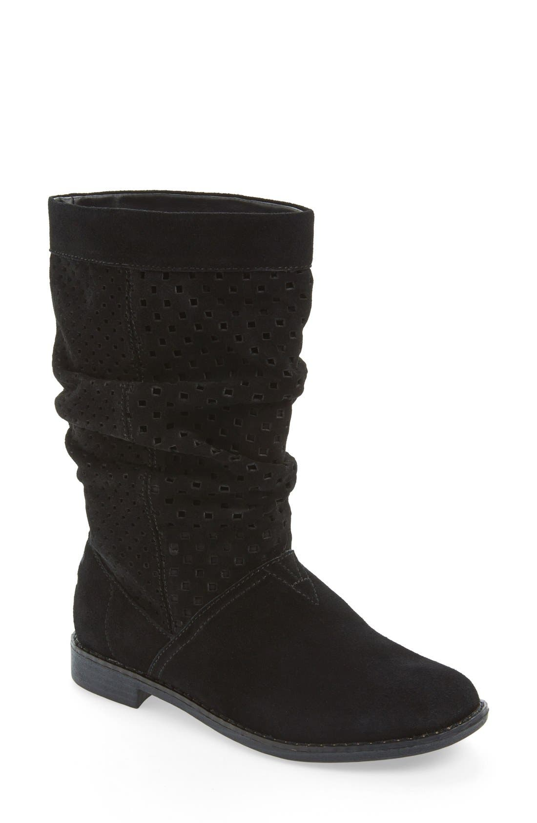 'Serra' Perforated Slouch Boot, Main, color, 001