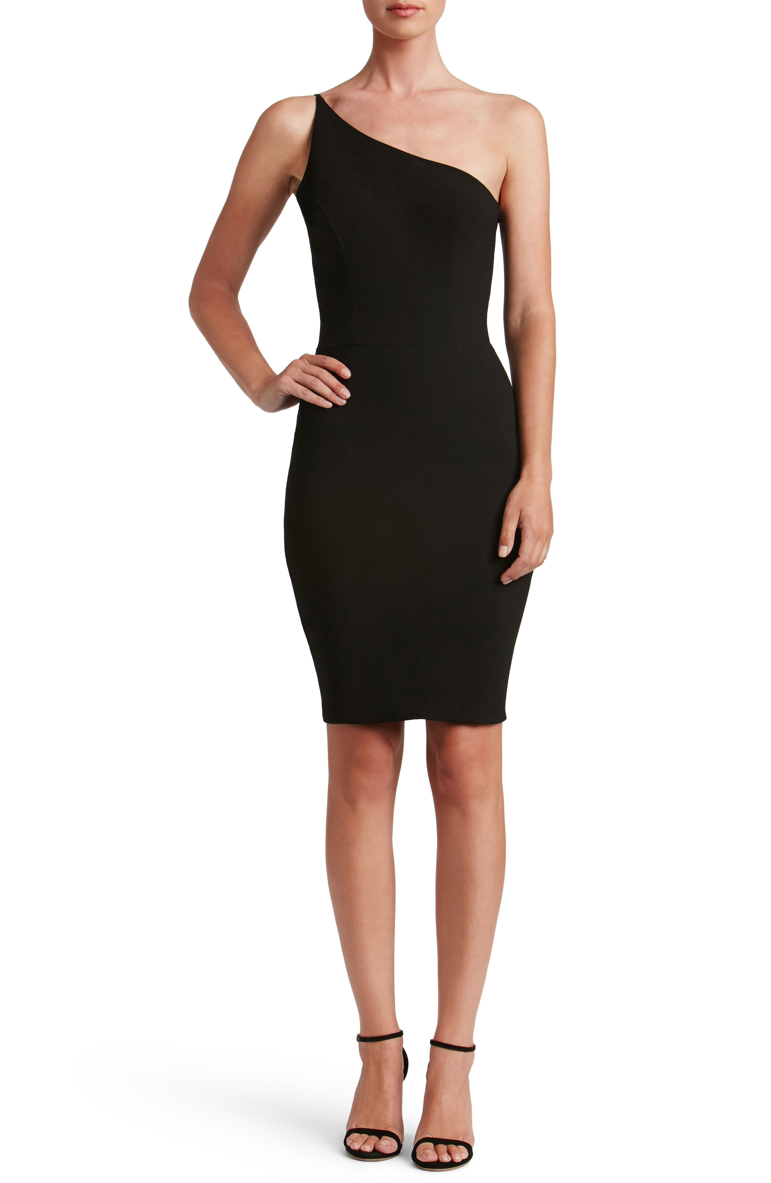 Jennifer One-Shoulder Body-Con Dress,                             Main thumbnail 1, color,                             001