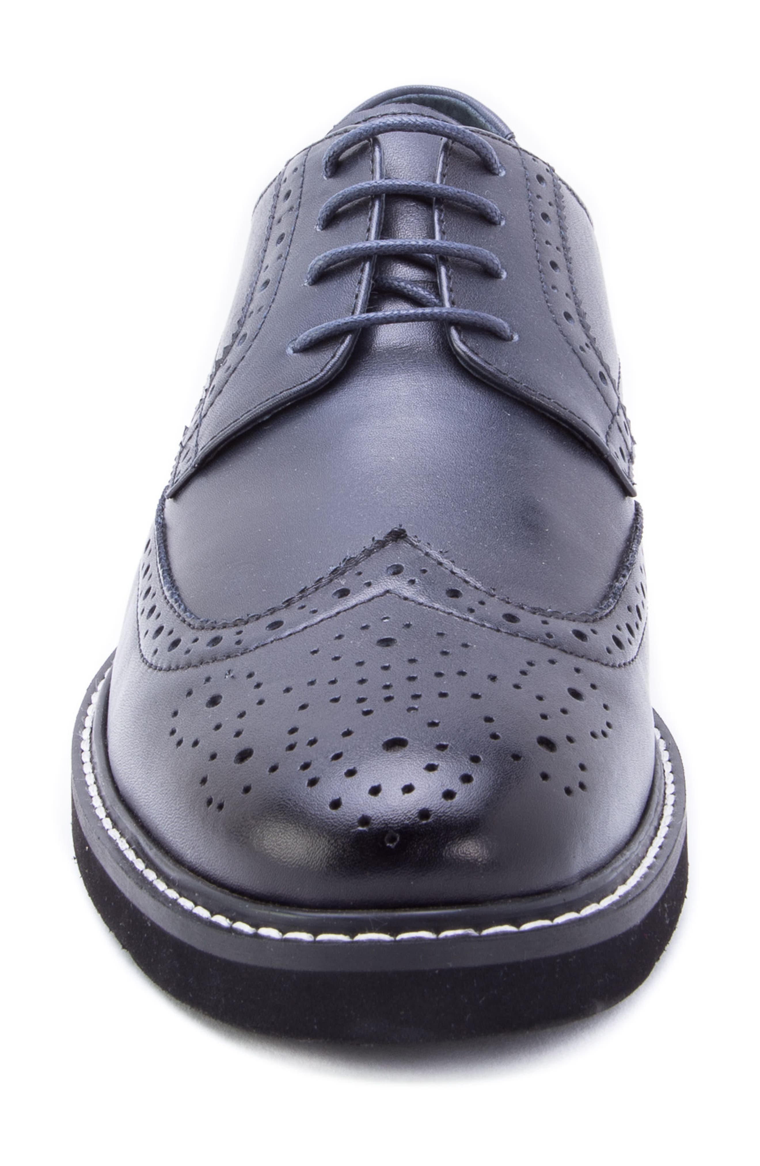 Siena Wingtip Derby,                             Alternate thumbnail 4, color,                             NAVY LEATHER