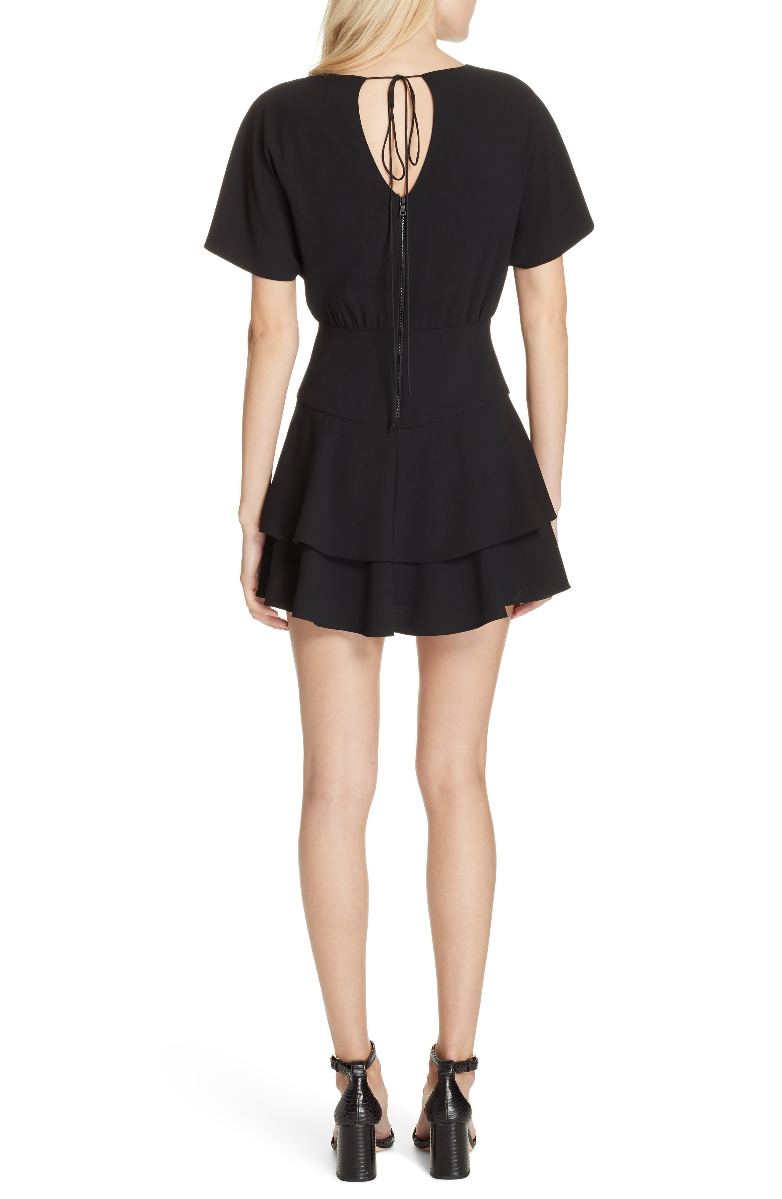 Palmira Tiered Fit & Flare Minidress,                             Alternate thumbnail 2, color,                             001