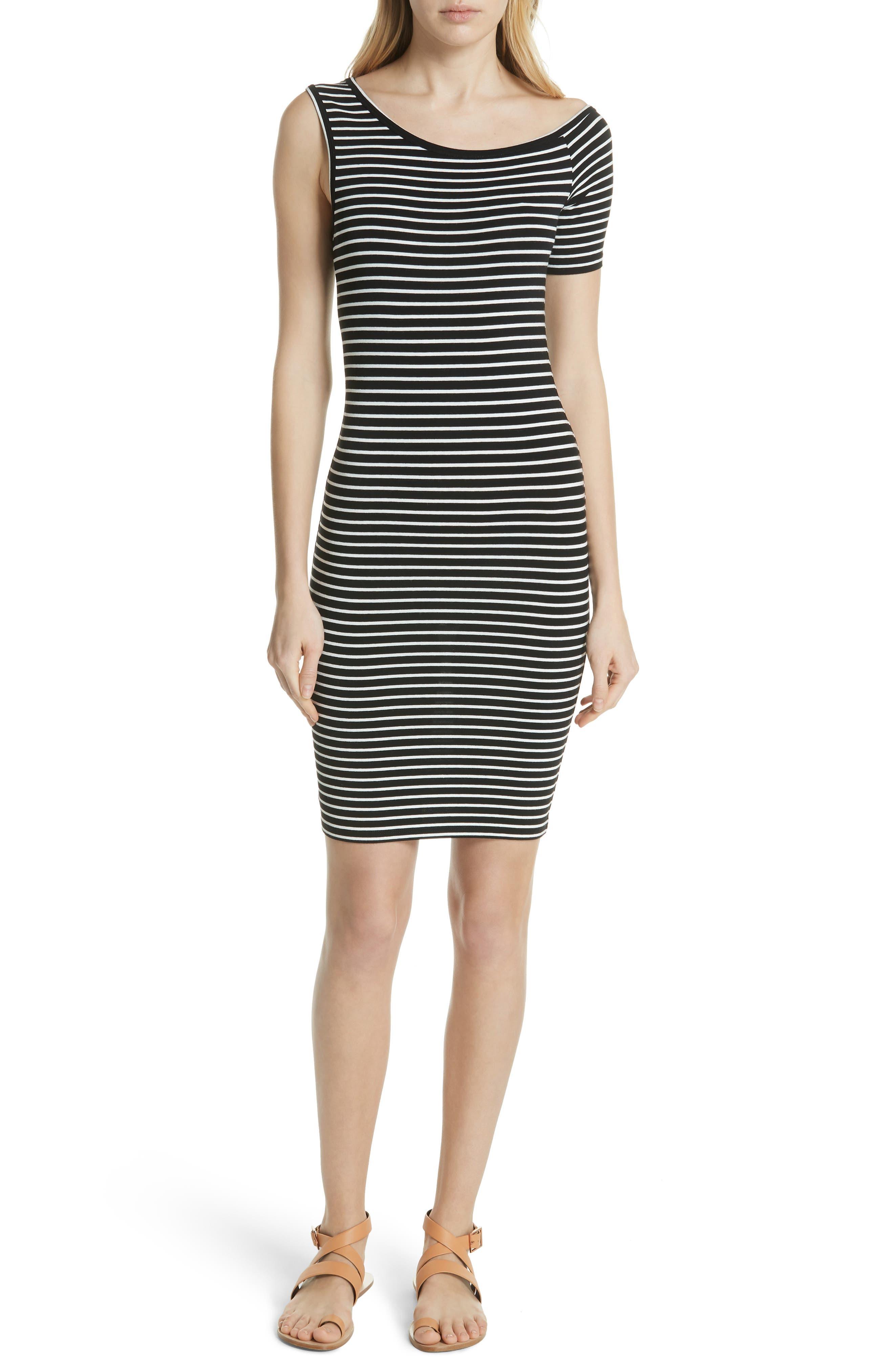 Stripe One-Sleeve Body-Con Dress,                             Main thumbnail 1, color,                             NOIR MULTI