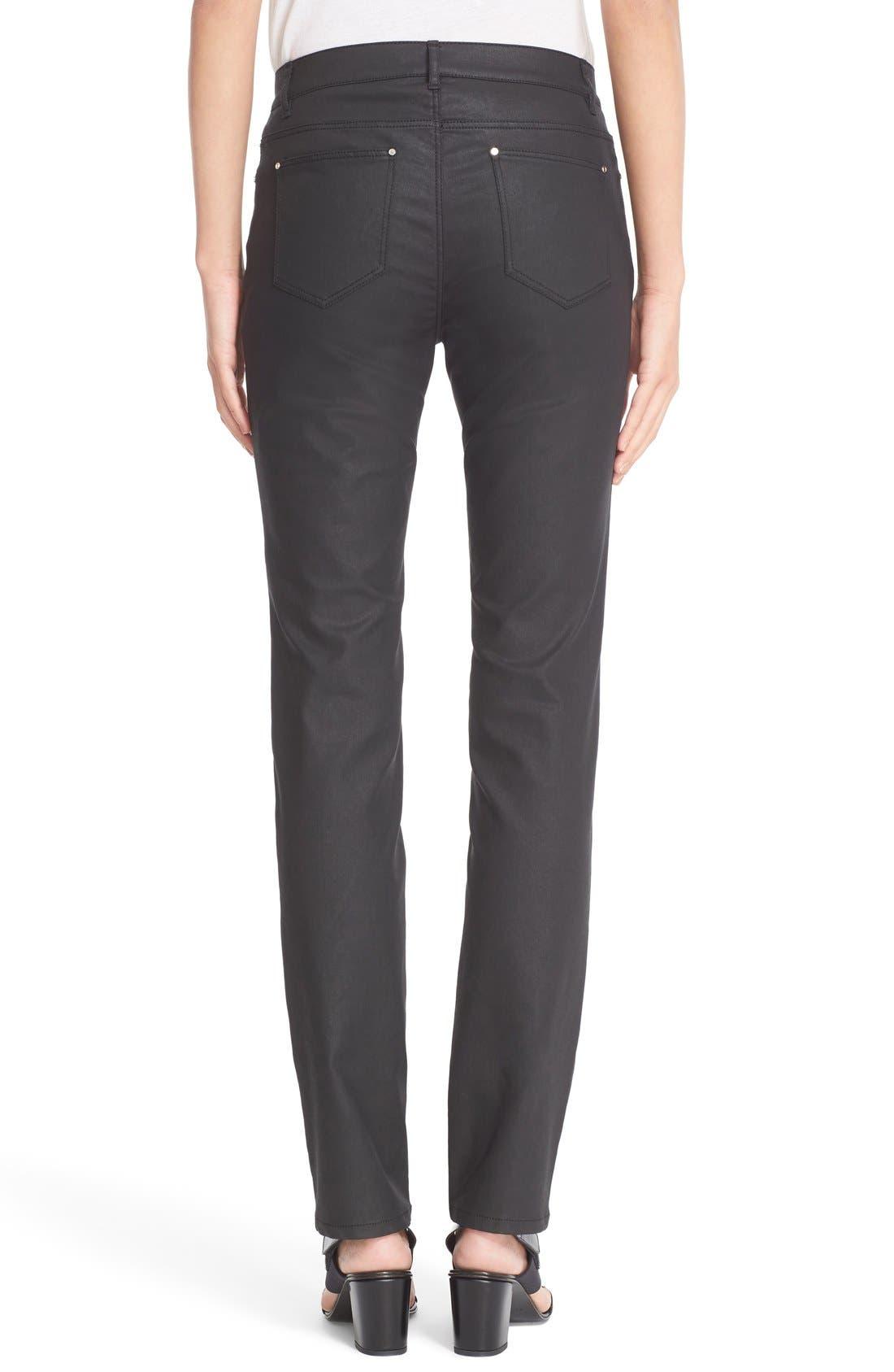 Waxed Denim Slim Leg Jeans,                             Alternate thumbnail 3, color,                             BLACK