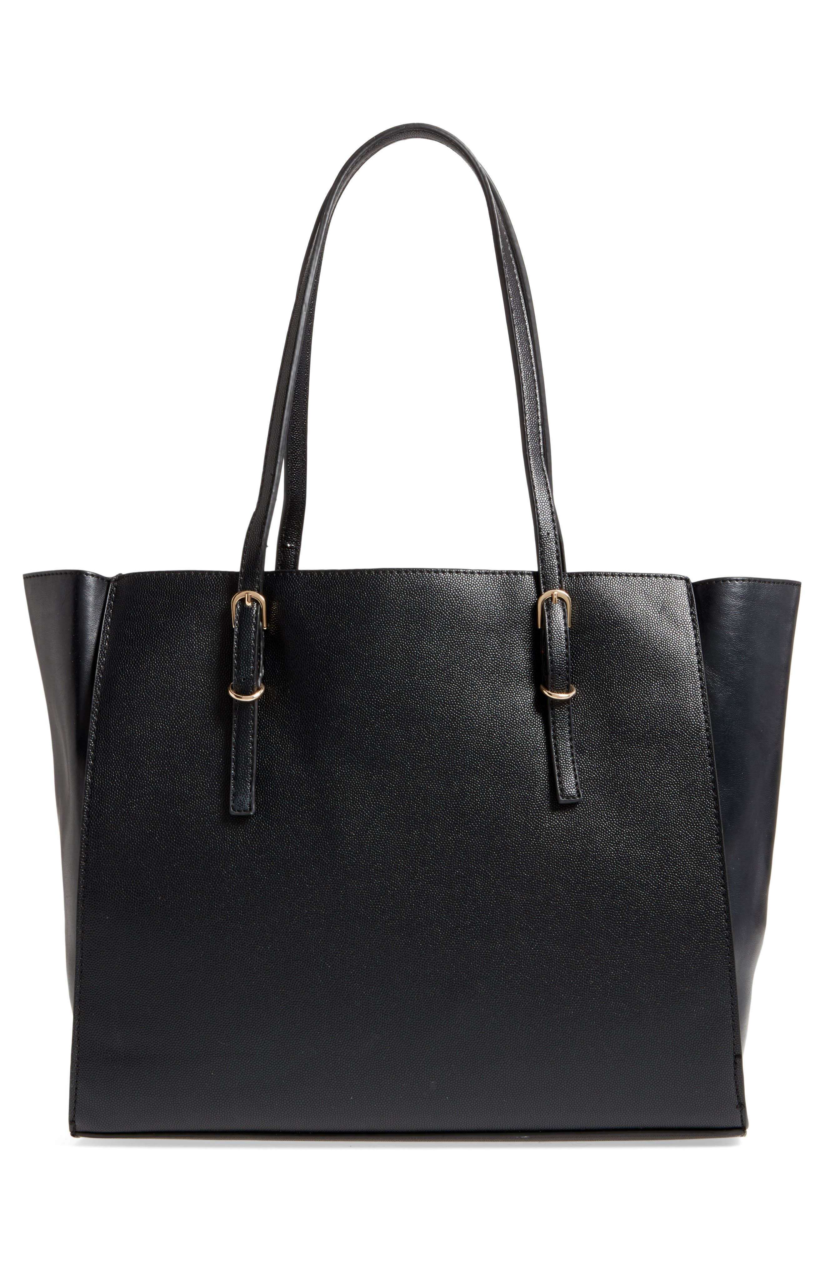 Faux Leather Buckle Tote,                             Alternate thumbnail 3, color,                             001