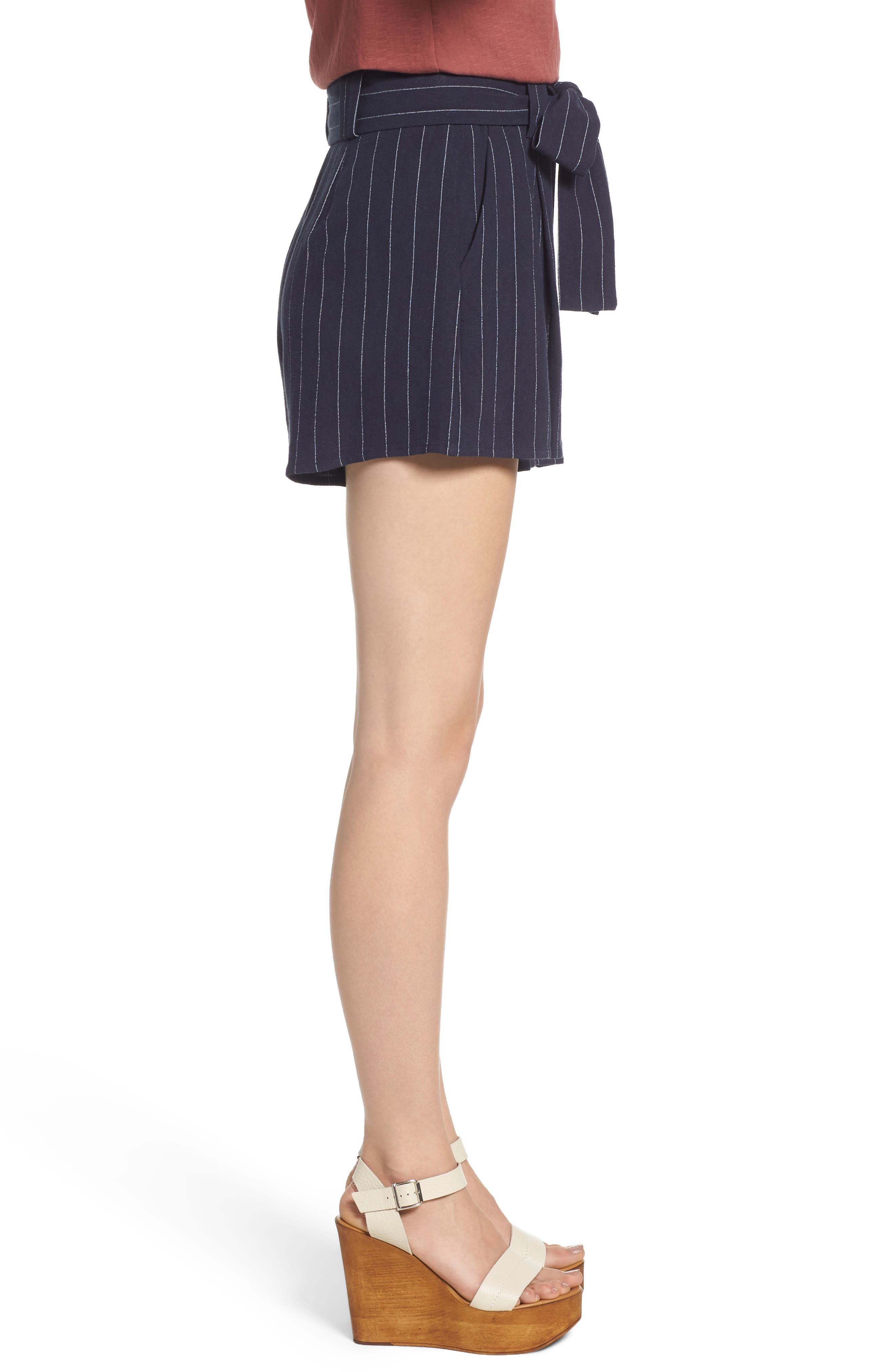 Stripe Tie Waist Shorts,                             Alternate thumbnail 3, color,                             BLUE STRIPE