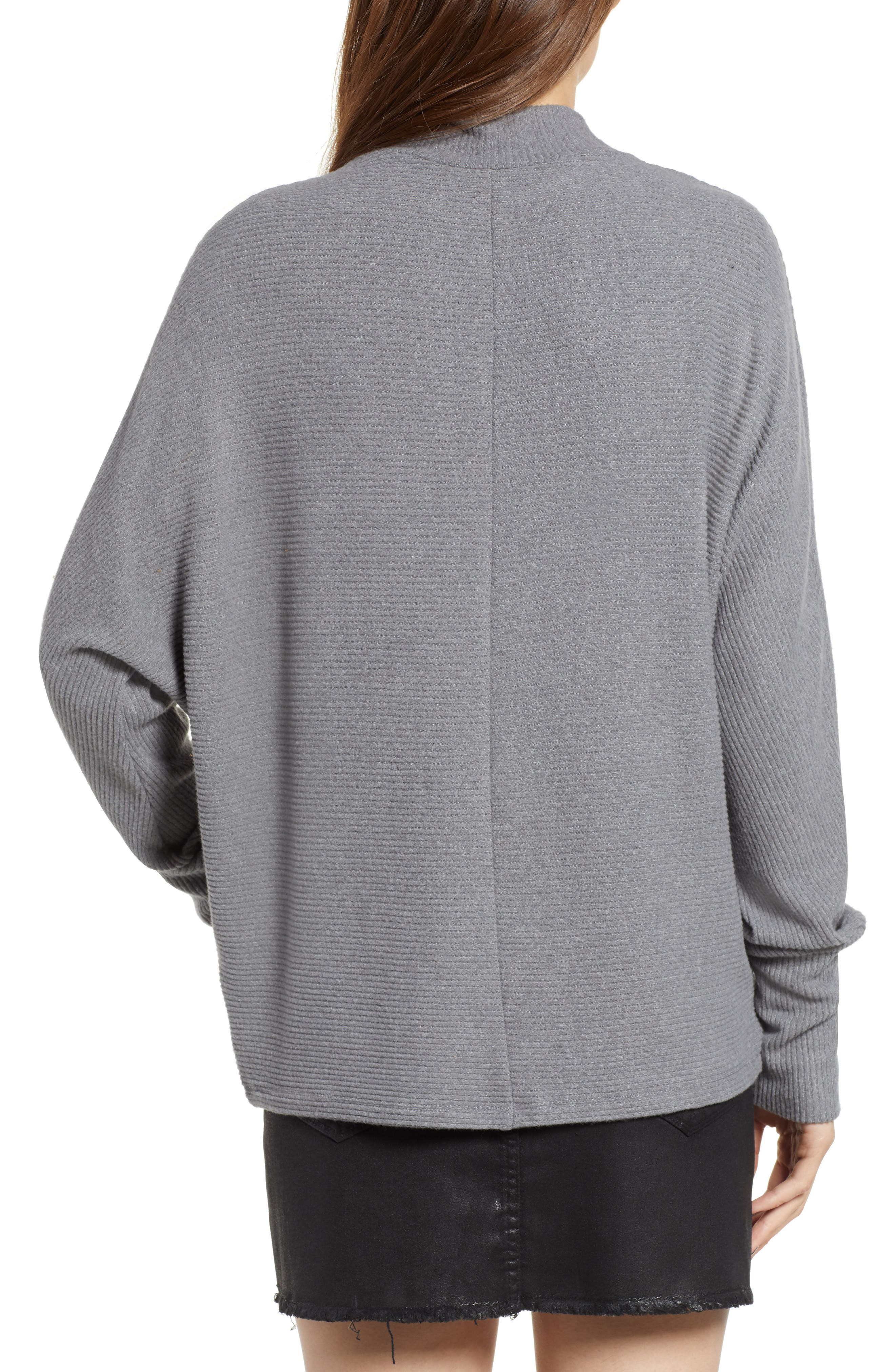 Dolman Sleeve Ribbed Top,                             Alternate thumbnail 2, color,                             GREY CLOUDY HEATHER