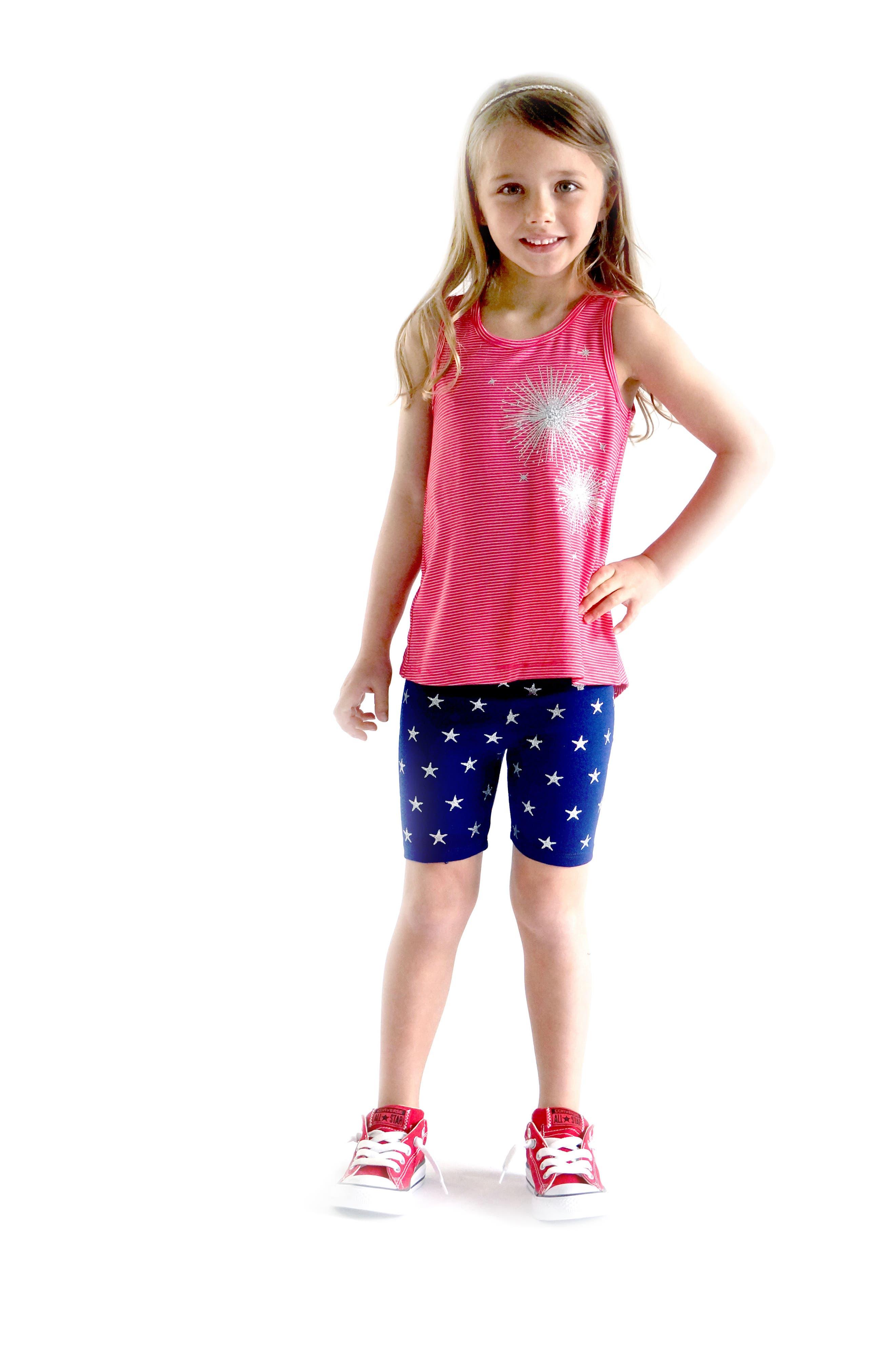 TRULY ME,                             Glittery Star Biker Shorts,                             Alternate thumbnail 3, color,                             497